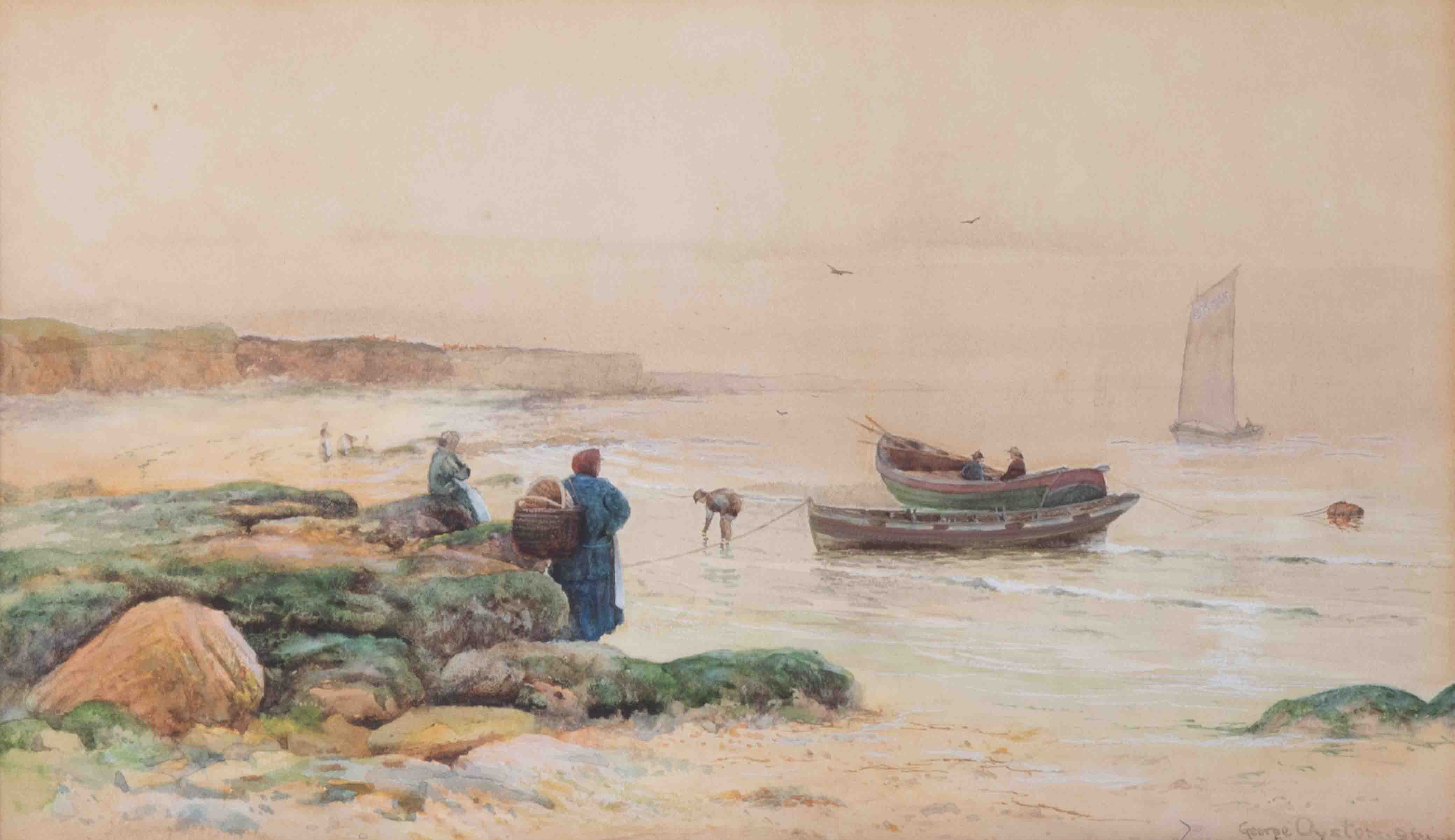 George Oyston (1861-1937), 1896 signed watercolour, 'Figures on the beach, fishing boats', 20cm x - Image 2 of 2