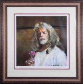 Robert Lenkiewicz (1941-2002), 'Self Portrait Holding Rose', signed limited edition print