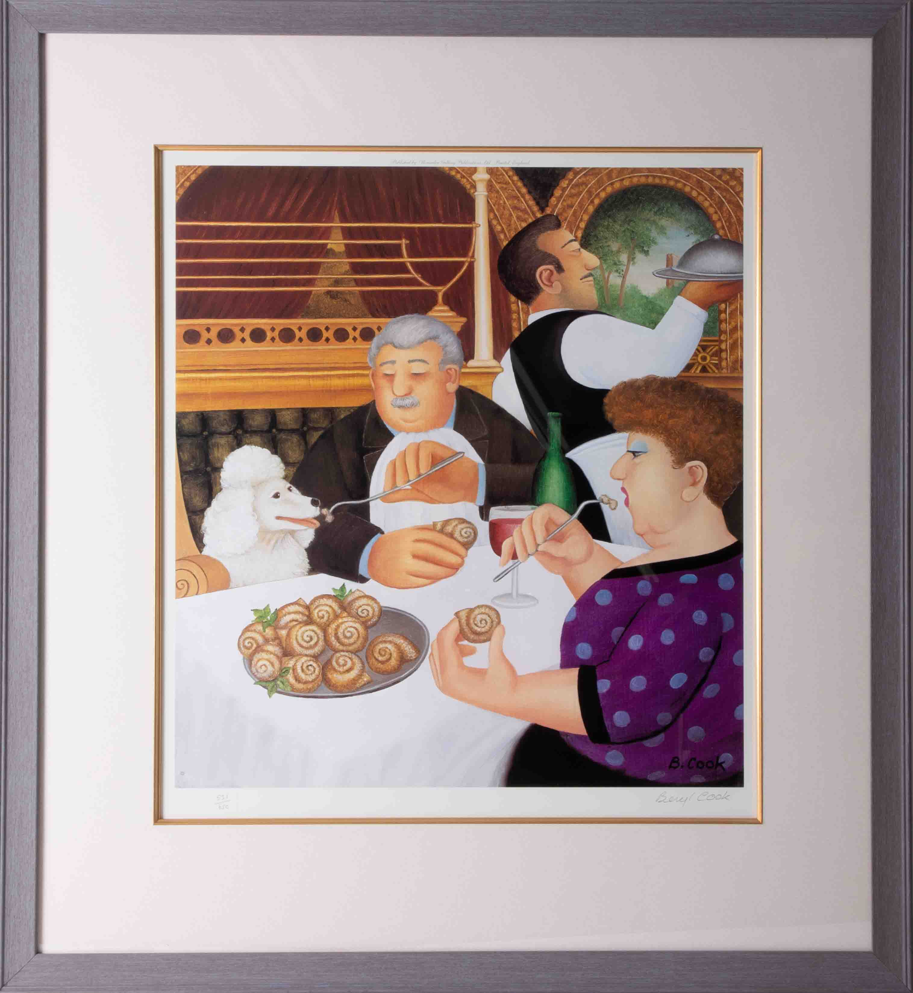 Beryl Cook (1926-2008) 'Dining In Paris' 2001 lithograph limited edition print 531/650, signed, 45cm