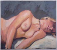 Robert Lenkiewicz (1941-2002), oil on canvas 'Nude Study', 54cm x 61cm, unsigned.