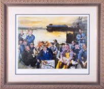 Robert Lenkiewicz (1941-2002) 'Barbican Fisherman', signed limited edition print, 195/250, framed