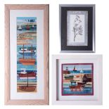 Rachel Sumner (contemporary textile artist, Bideford), fabric collage 'On the Beach', signed and