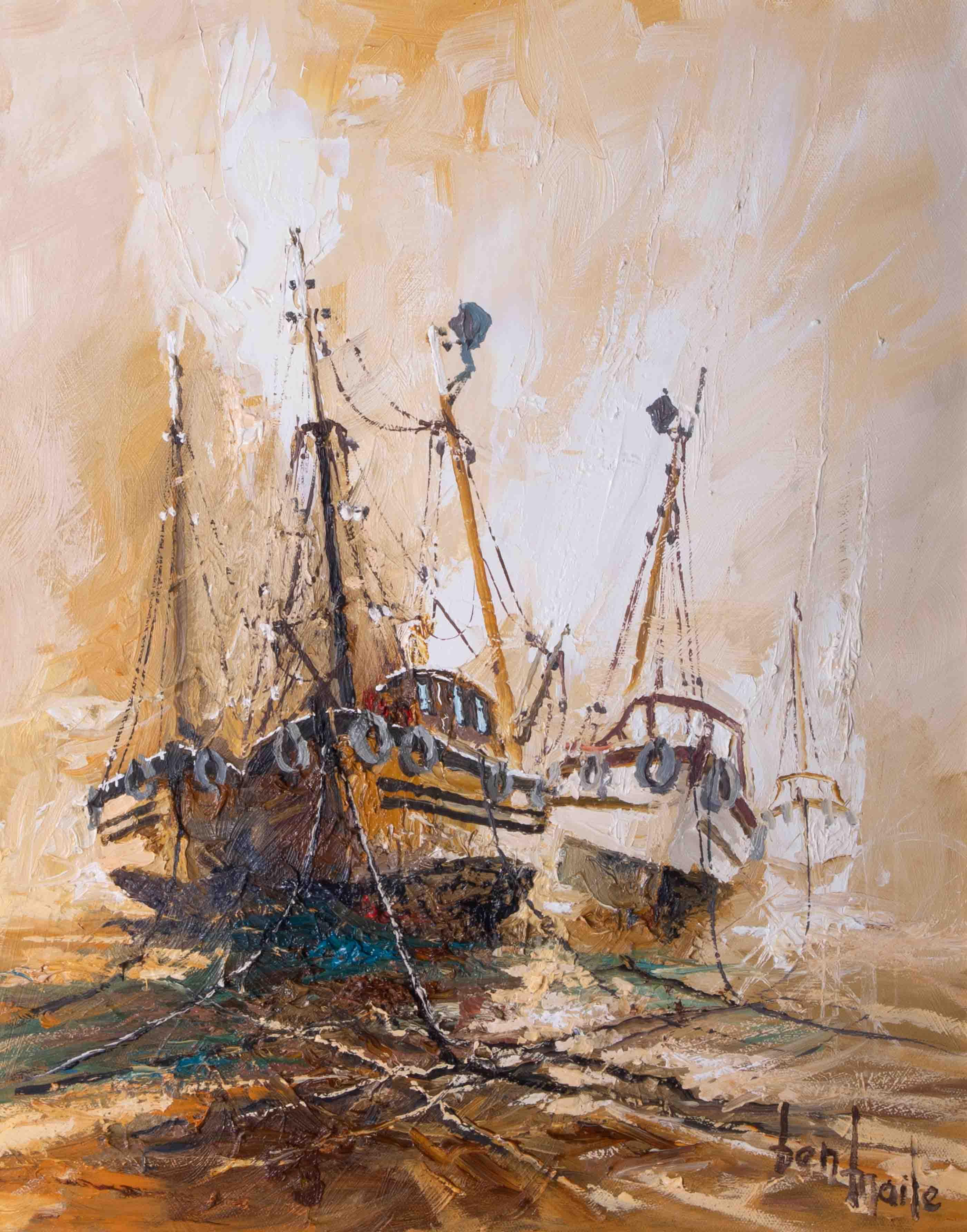Ben Maile (1922-2017) 'Awaiting The Tide' oil on canvas, signed, 49cm x 38cm, framed. - Image 2 of 2
