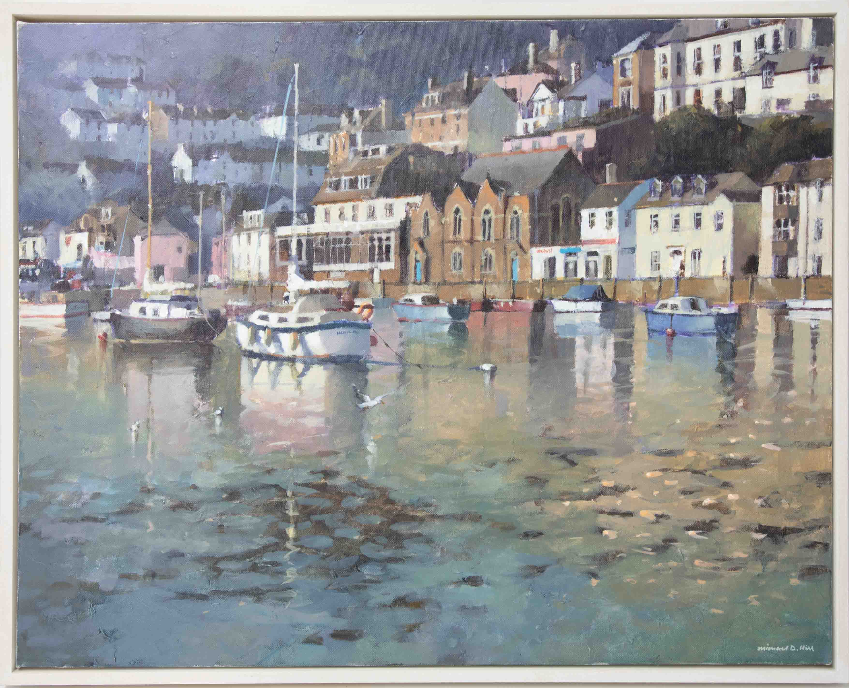 Michael D Hill, 'Harbour, West Looe' signed oil on canvas, 61cm x 76cm, framed. Michael Hill (born