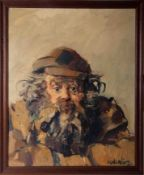 Robert Lenkiewicz (1941-2002) 'Diogenes and Black Pipe' oil on board, with original artist title