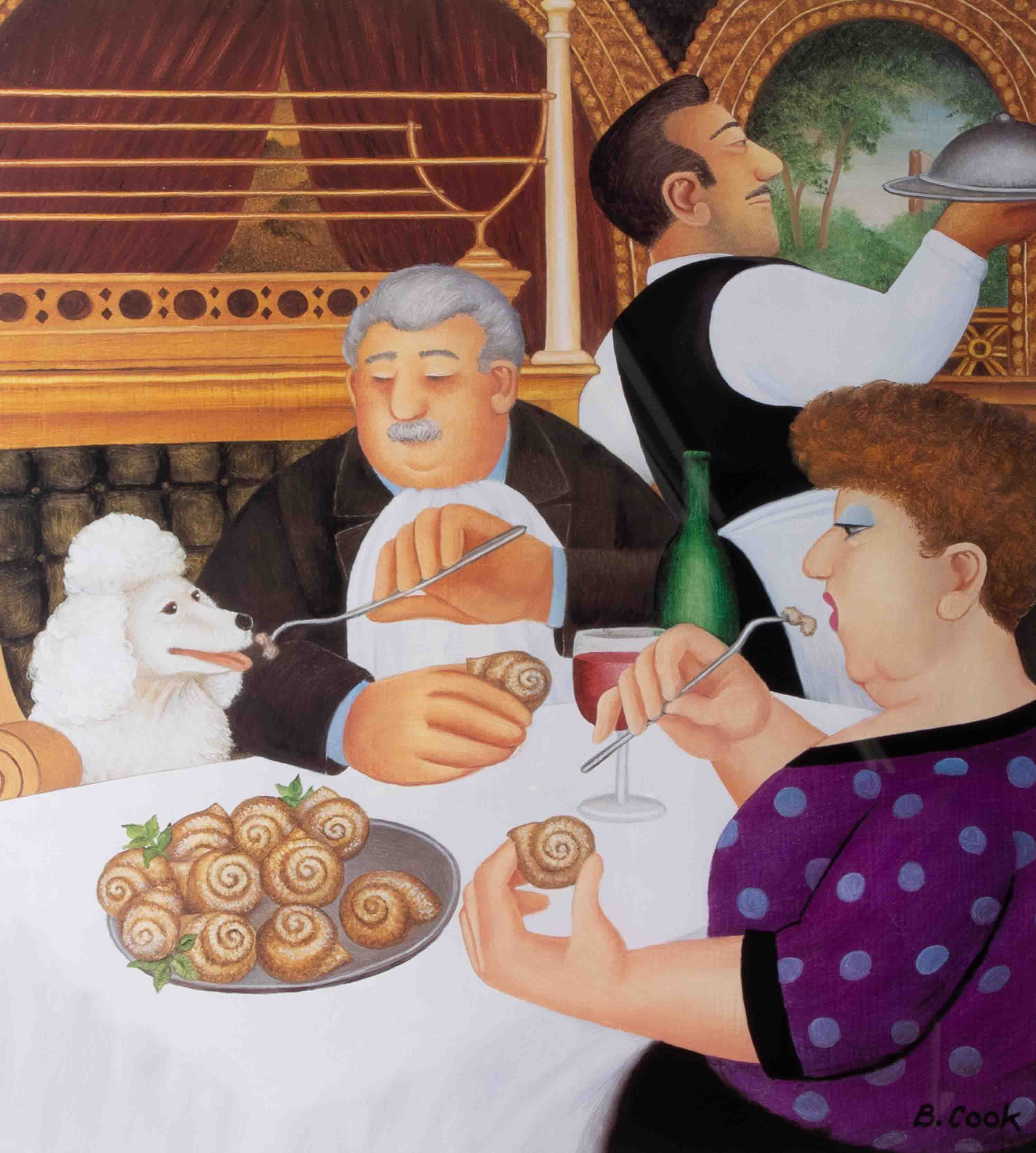 Beryl Cook (1926-2008) 'Dining In Paris' 2001 lithograph limited edition print 531/650, signed, 45cm - Image 2 of 2