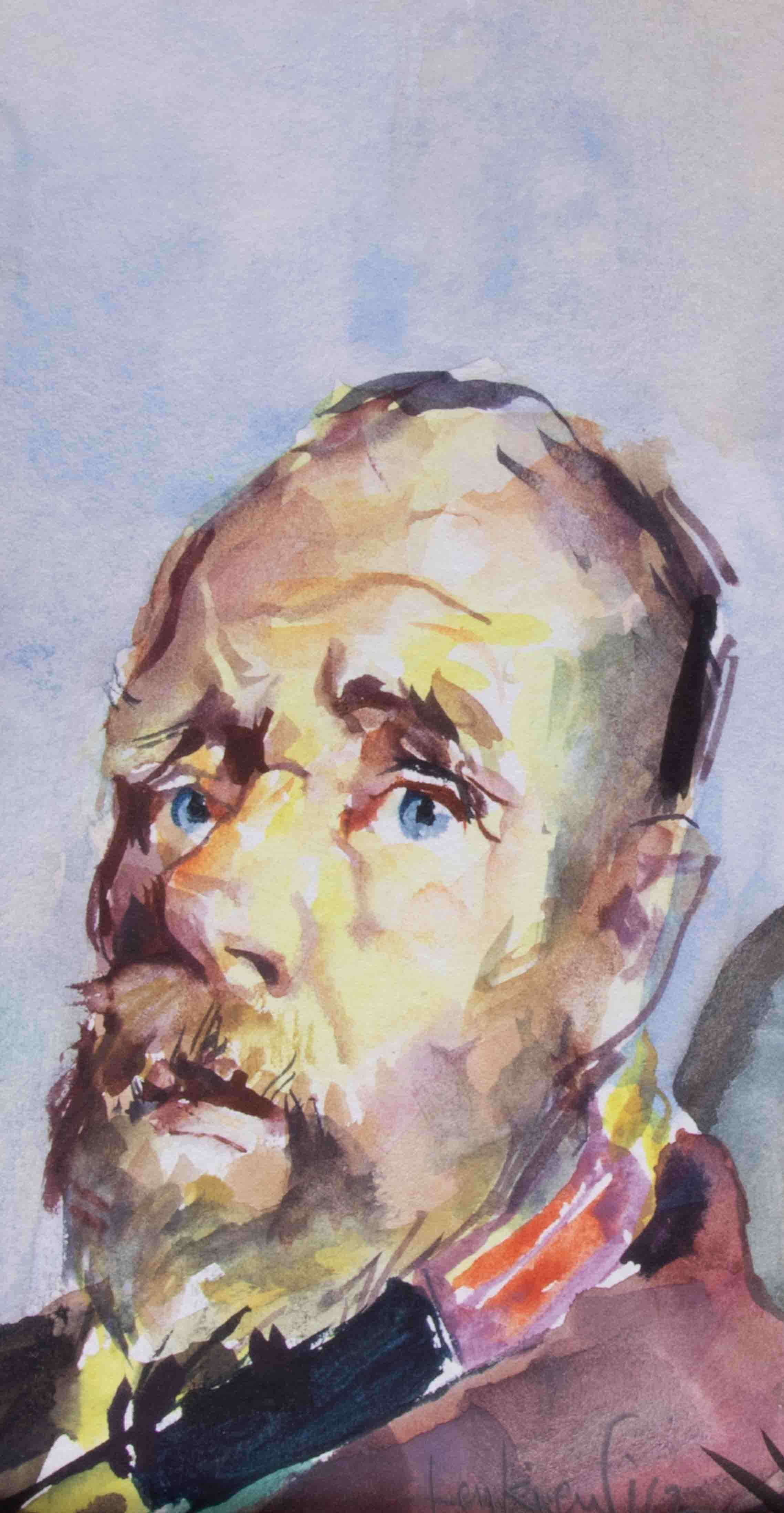 Robert Lenkiewicz (1941-2002), 'The Bishop' watercolour, signed, 16cm x 9cm, unframed. The vagrant - Image 2 of 2