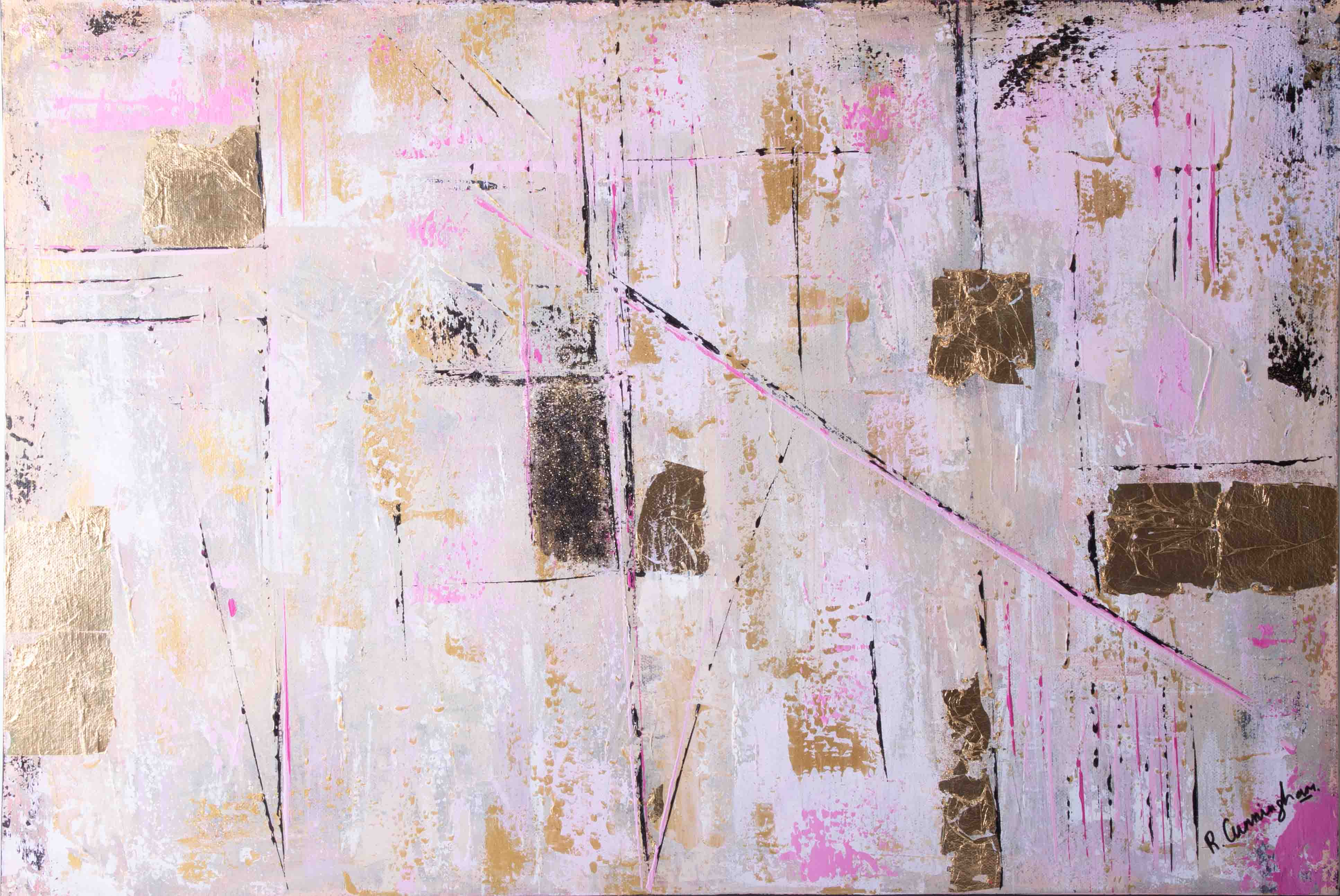Rosie Cunningham, 'Urban Glimmer' signed oil on canvas, 51cm x 77cm, unframed. Consigned from the