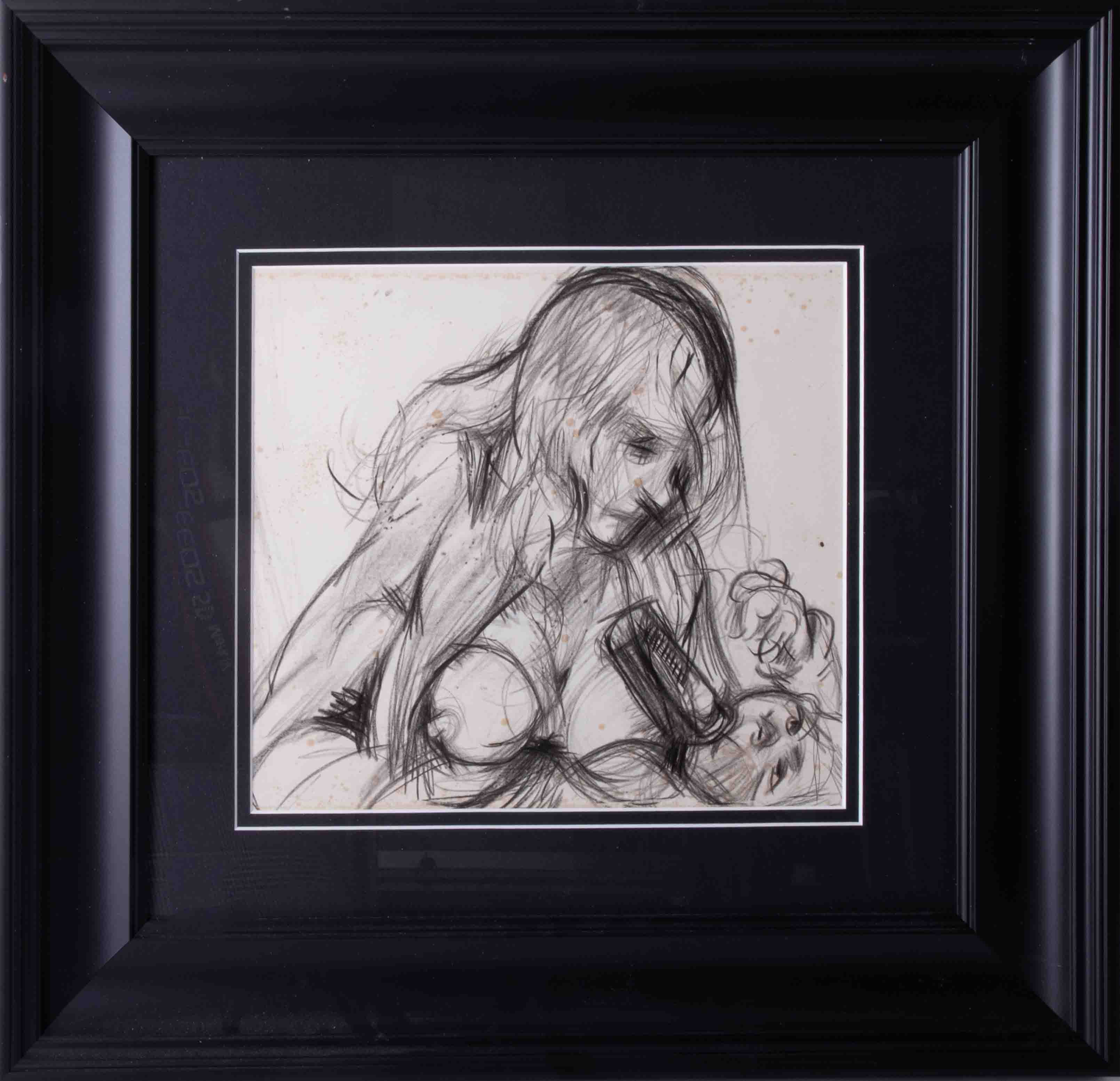 Robert Lenkiewicz (1941-2002), pencil sketch 'Mouse Feeding Wolfe', 23cm x 25cm, framed and glazed.