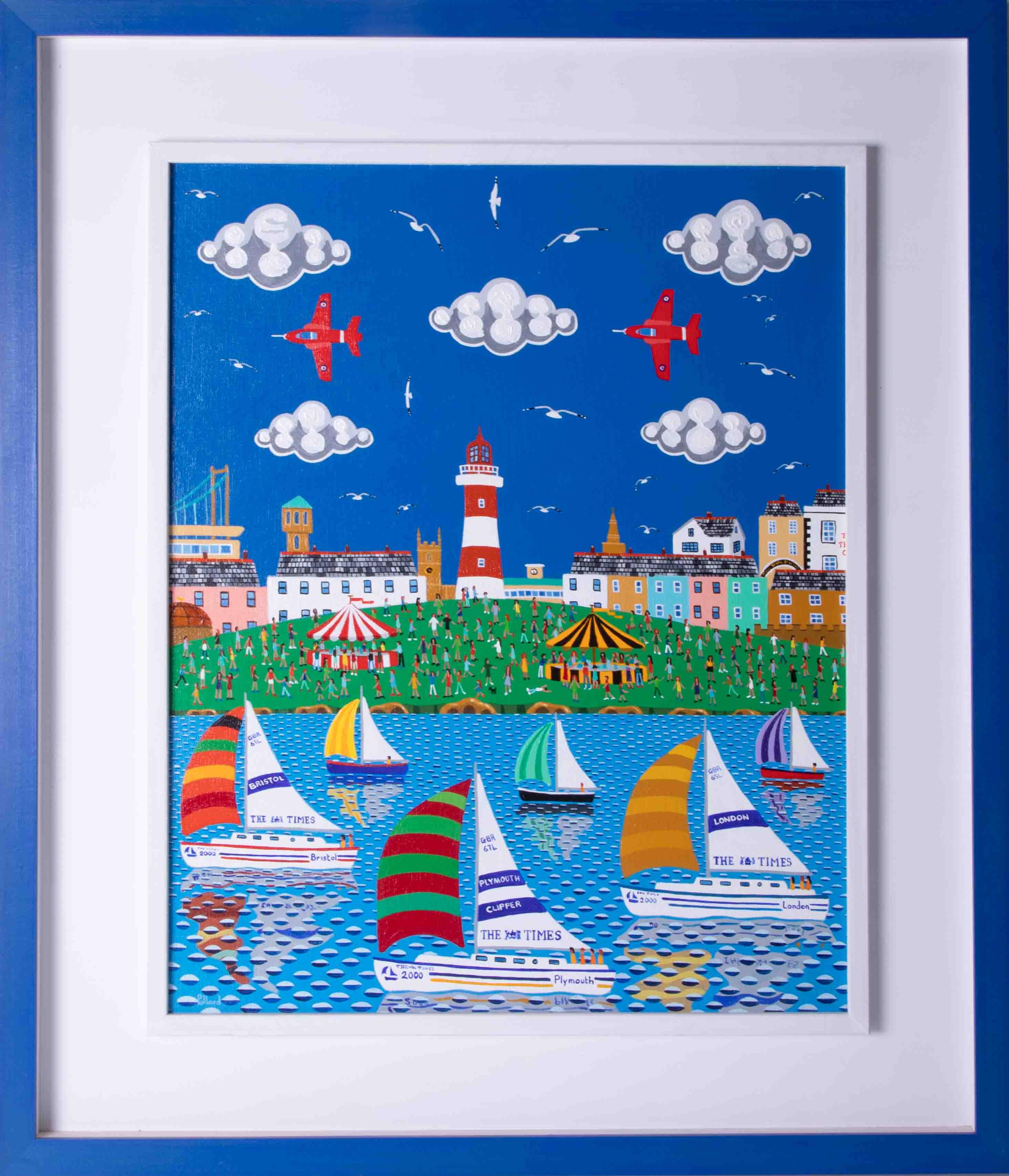 Brian Pollard, 'Red Arrows' acrylic on board, signed, 50cm x 39cm, framed. Brian is a member of