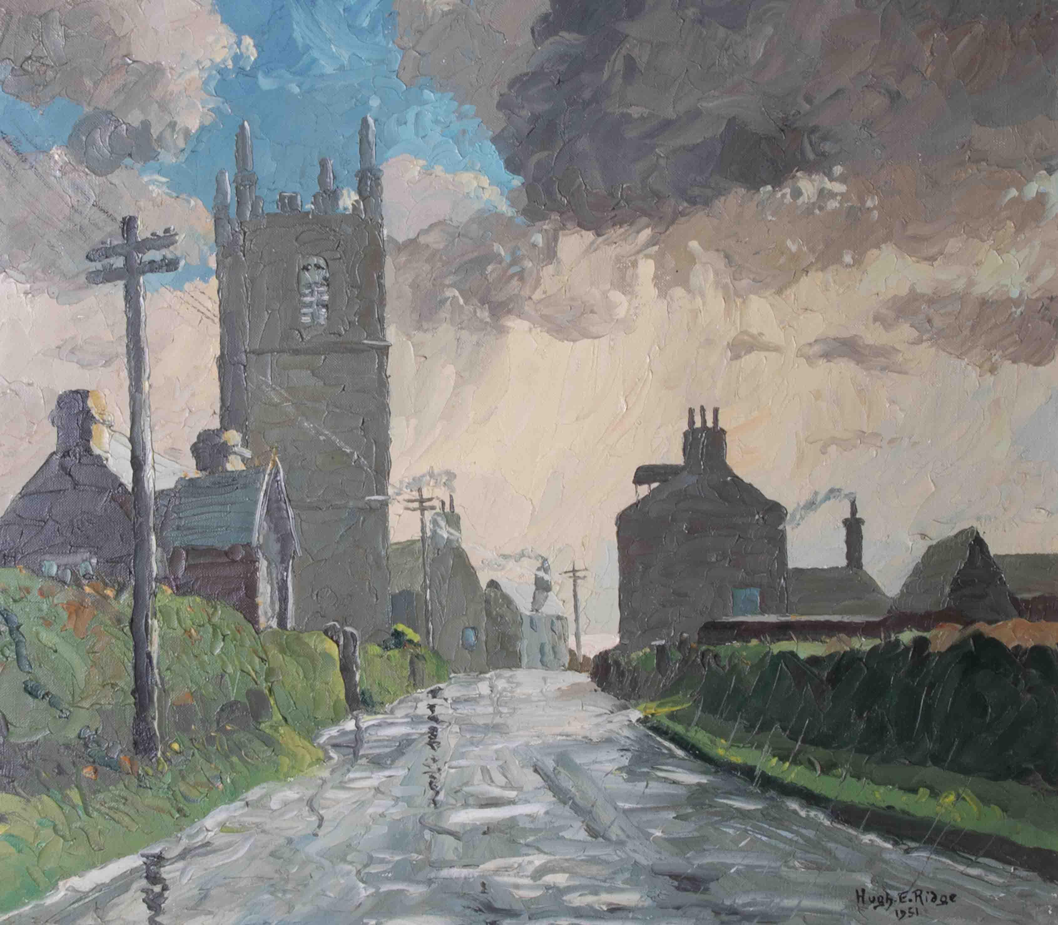 Hugh E Ridge (1899-1976) 'December Day, Sennen' signed oil on canvas, 38cm x 43cm, Exhibitors Back - Image 2 of 2