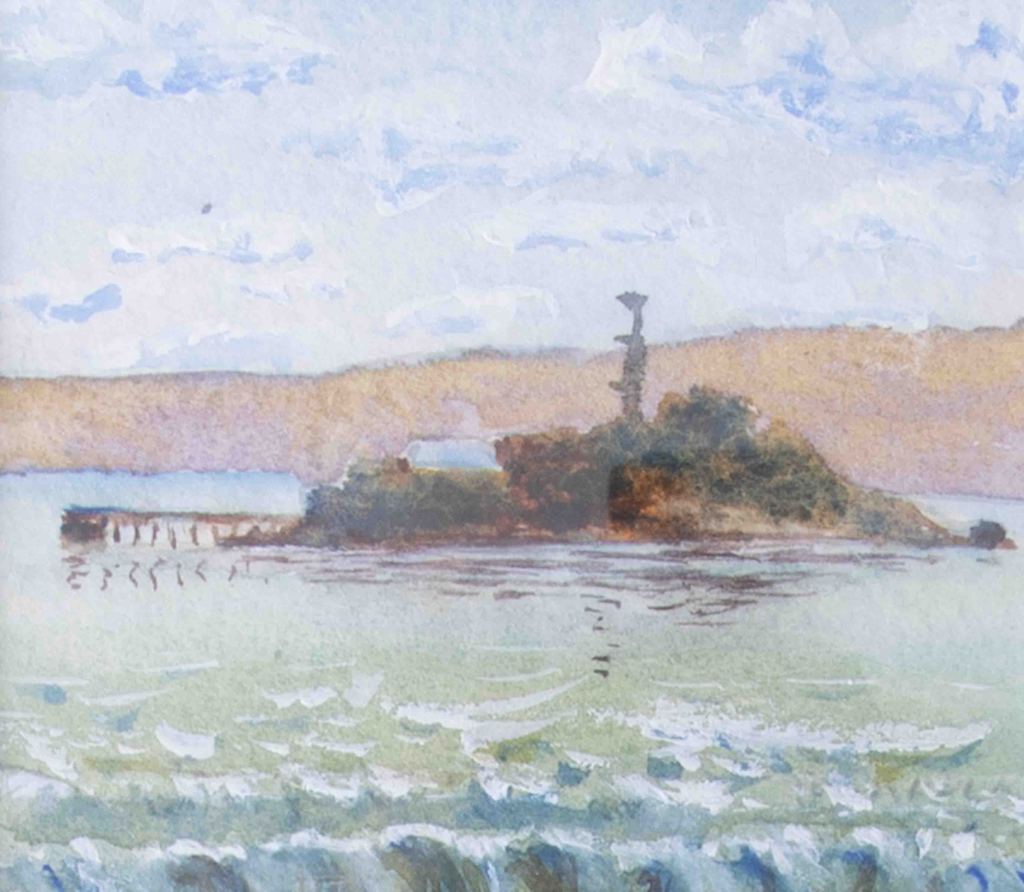A watercolour of 'West View Of Drakes Island', signed and dated to the rear, 7cm x 8.5cm, framed and - Image 2 of 2