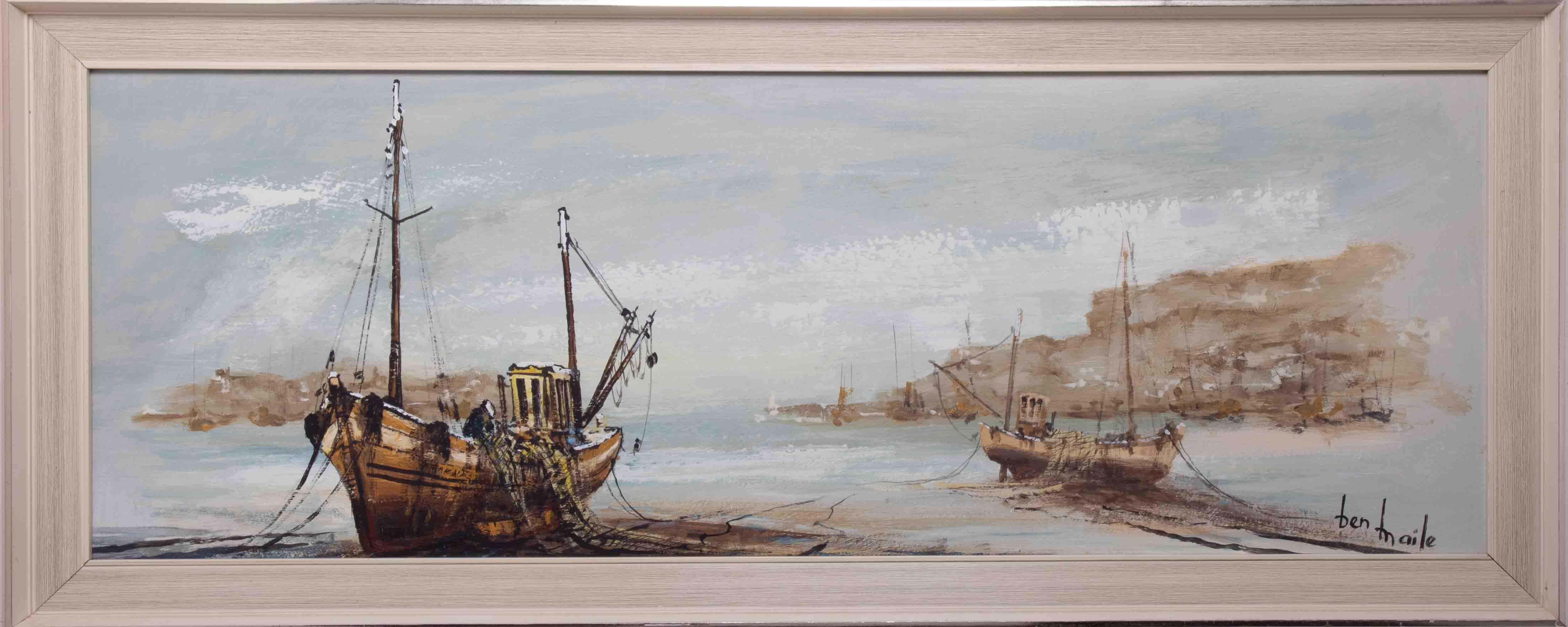 Ben Maile (1922-2017), 'Boats' oil on board, signed, 28cm x 82cm, framed.