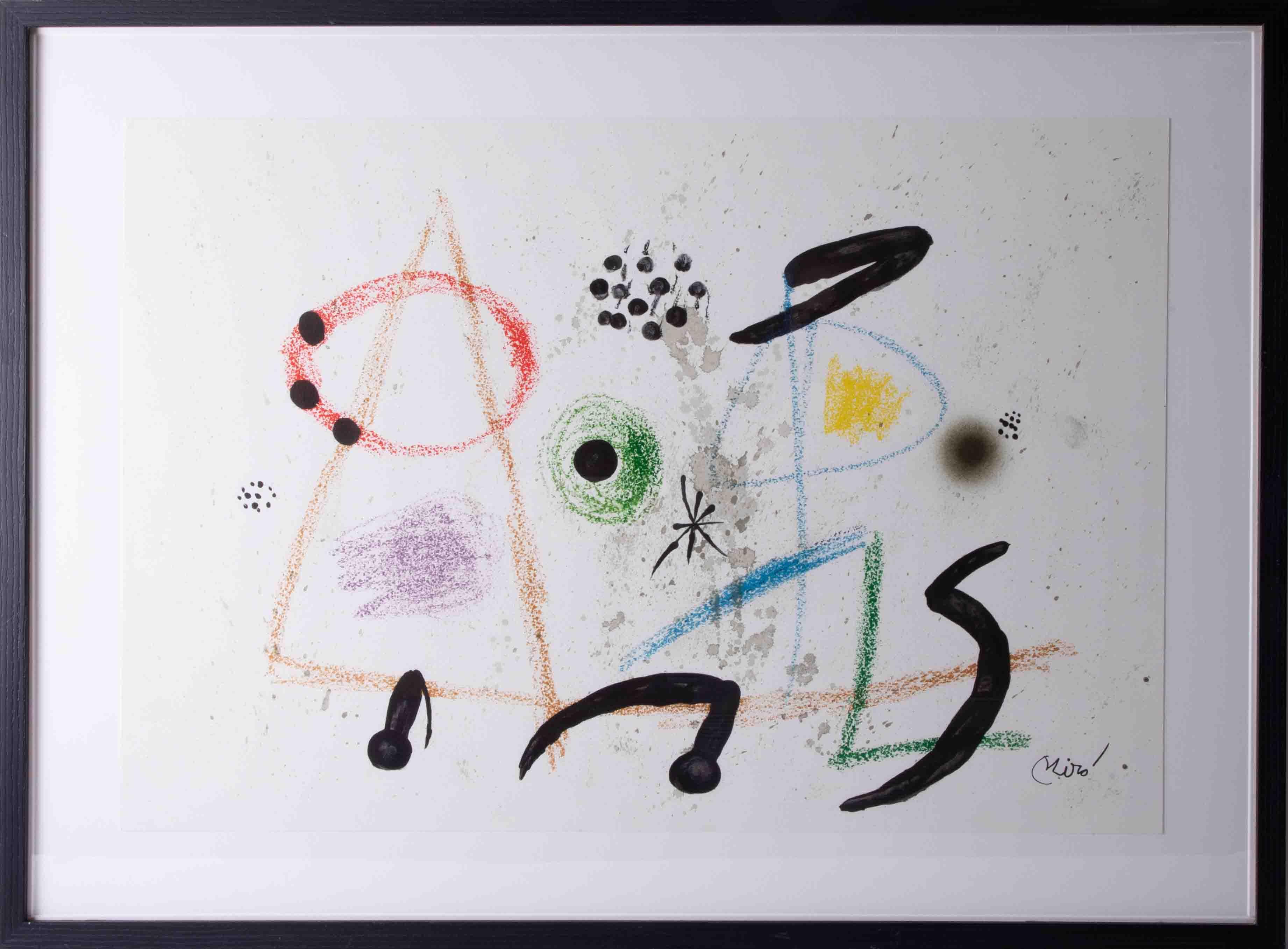 Joan Miro (1893-1983) original lithograph, 50cm x 72cm, framed and glazed.