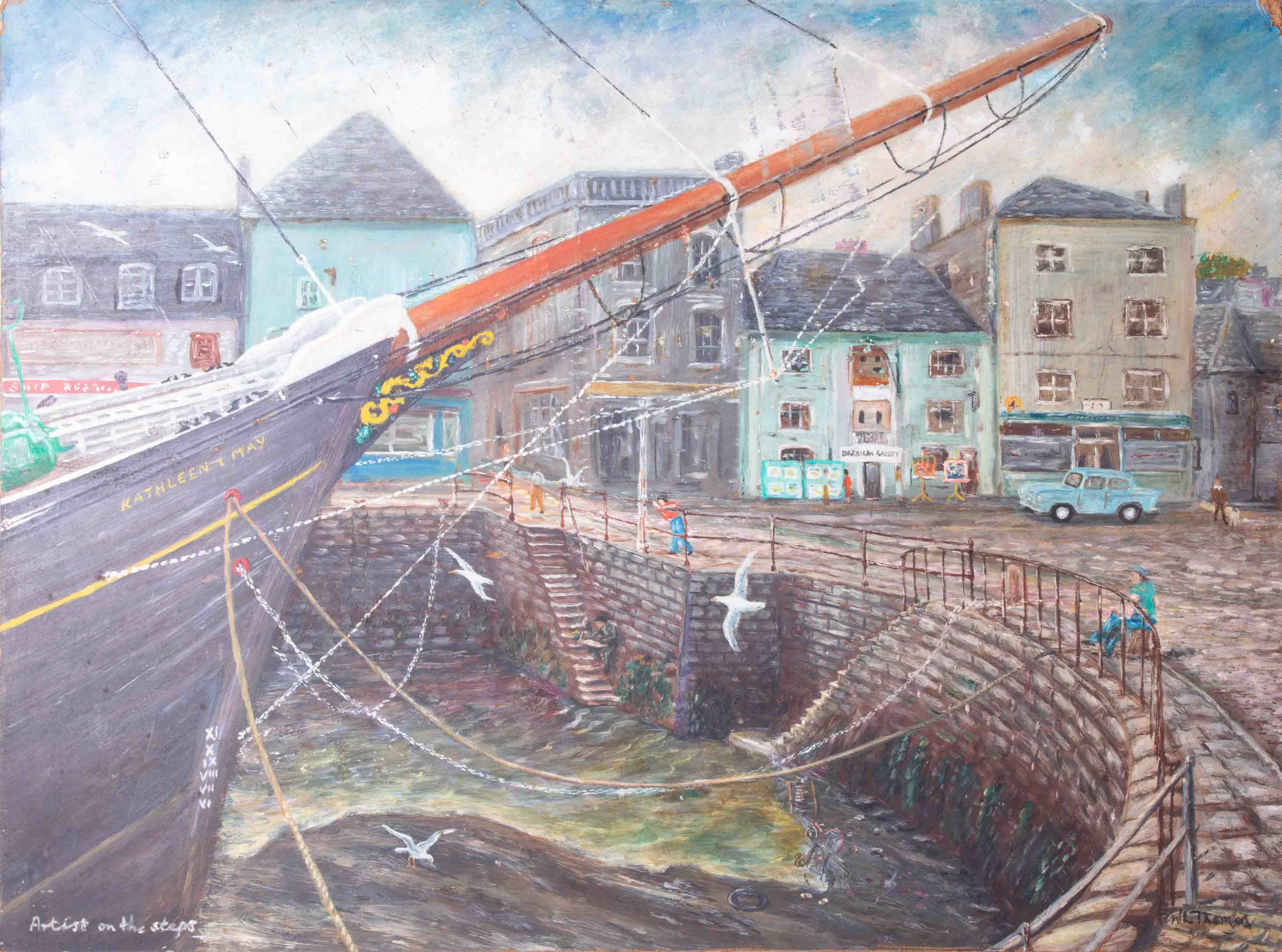 W.L.Thomas, oil on board titled 'Artist On The Steps, Sutton Harbour, Plymouth' also 'Bucky' with - Image 4 of 4