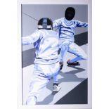 Henry Sells, 'Elite Épée', acrylic on canvas, 75cm x 49cm, framed. This art work has been