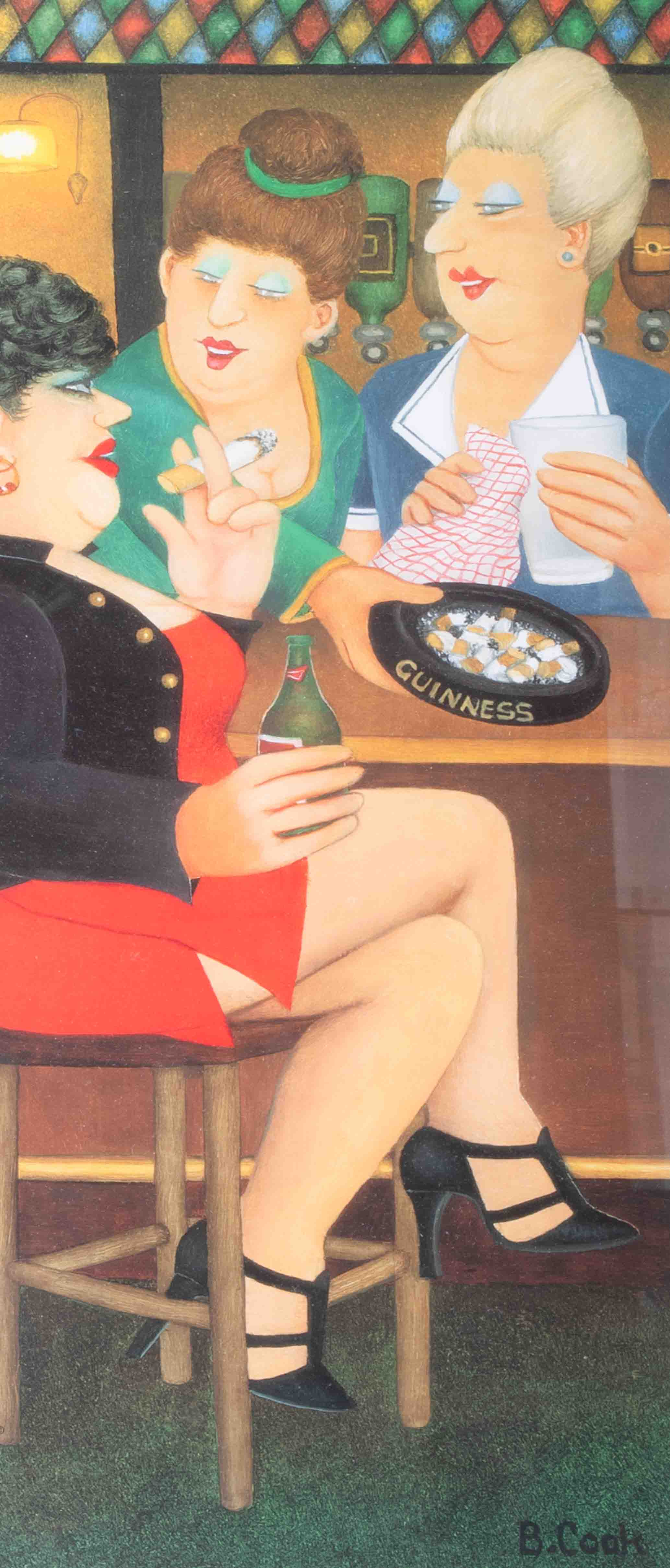 Beryl Cook (1926-2008) 'Last Gasp' limited edition print 604/650, 50cm x 21cm, framed and glazed, - Image 2 of 2