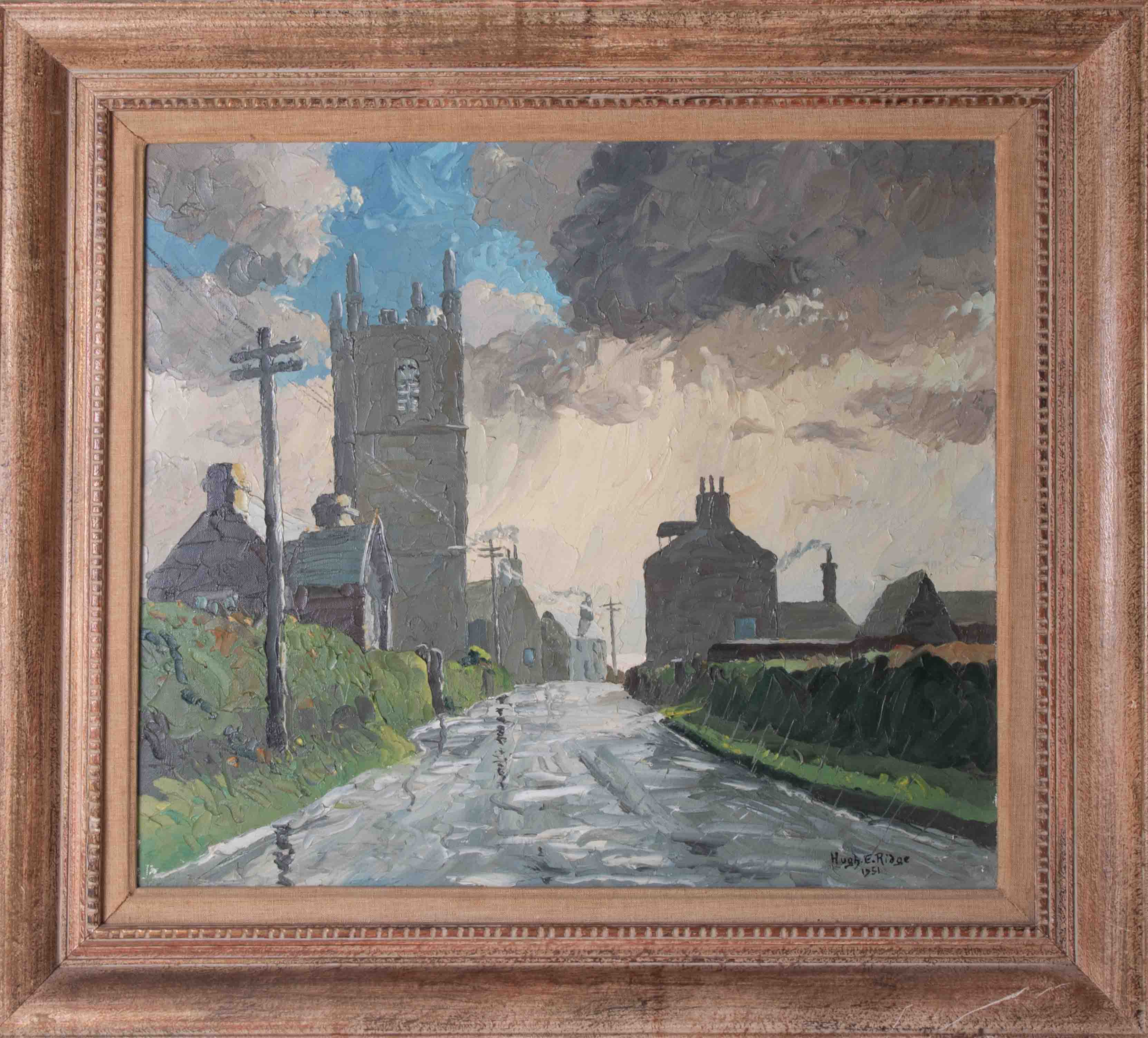 Hugh E Ridge (1899-1976) 'December Day, Sennen' signed oil on canvas, 38cm x 43cm, Exhibitors Back