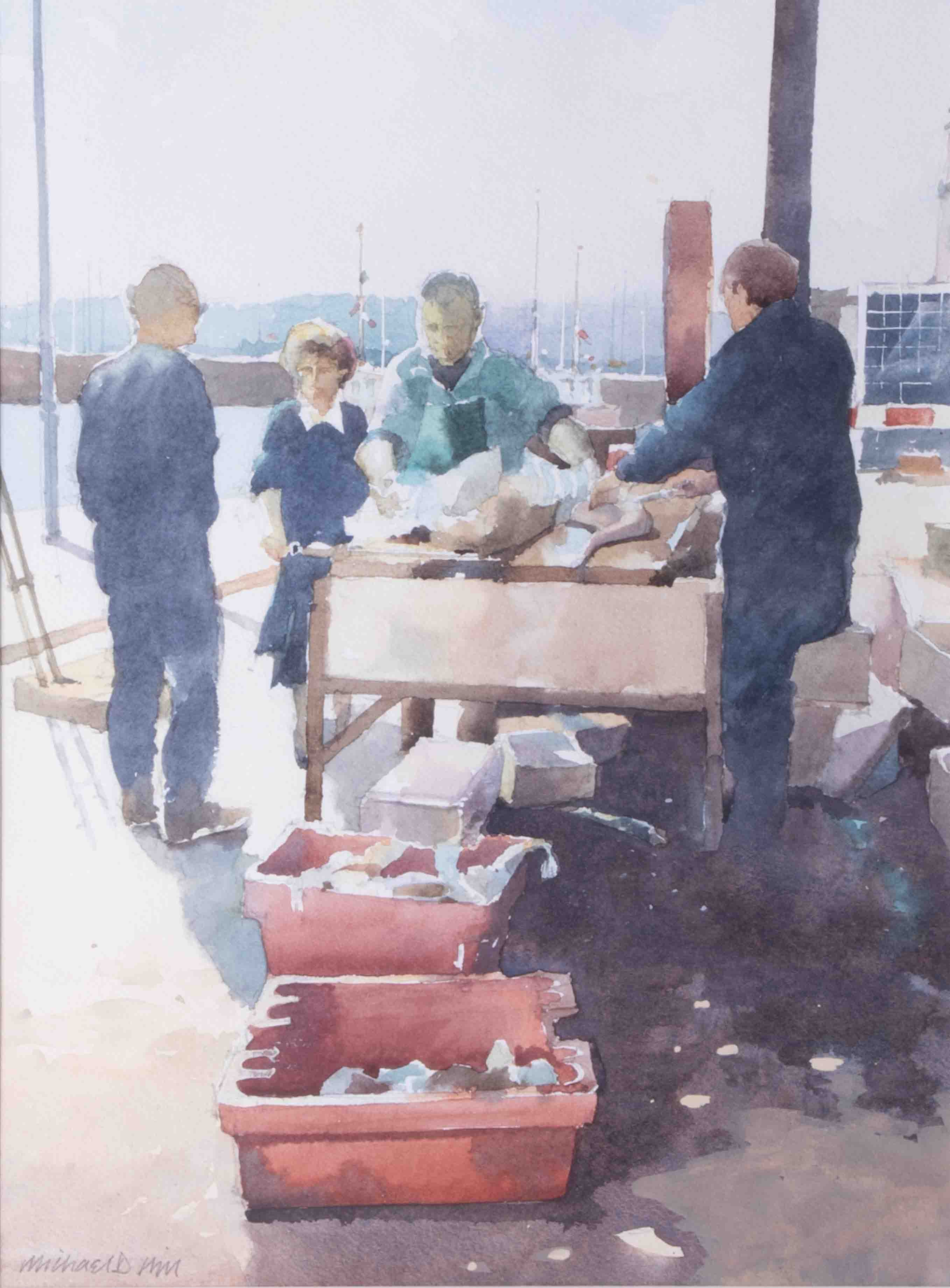 Michael D Hill, 'Fish Market' signed watercolour, 35cm x 26cm, framed and glazed. - Image 2 of 2