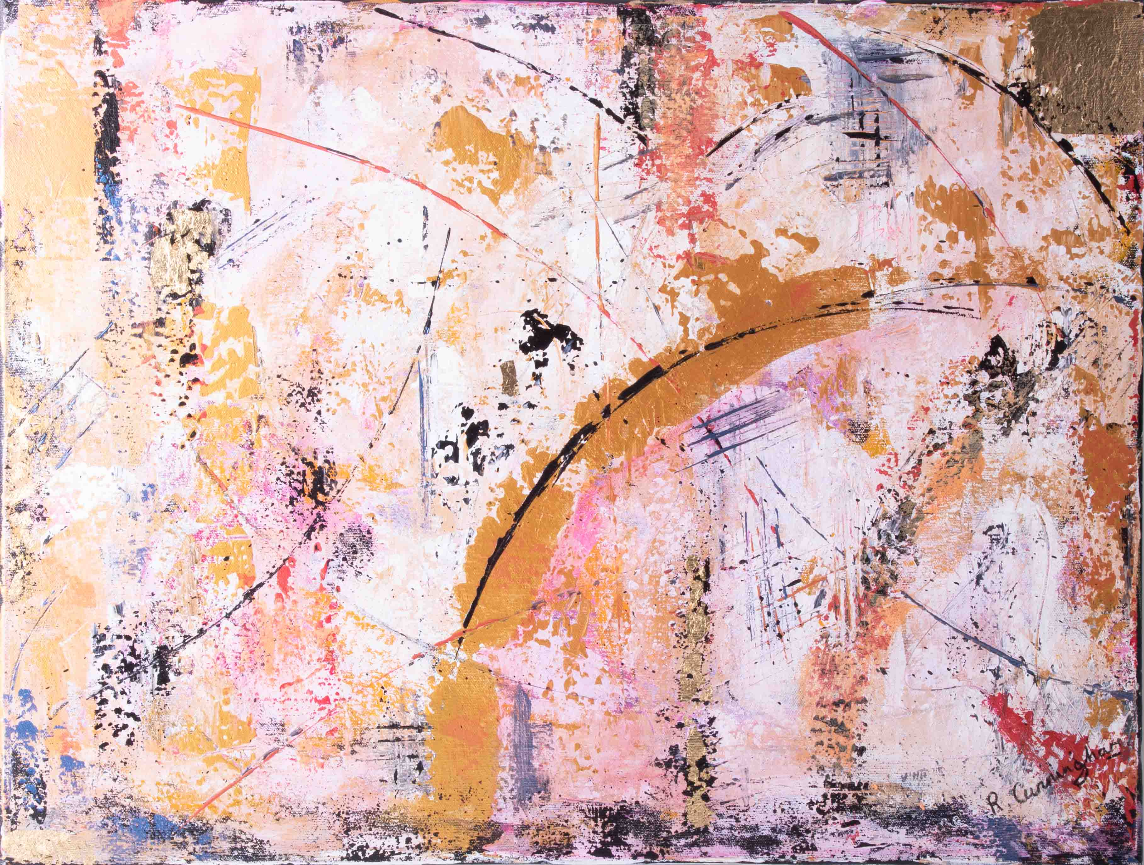 Rosie Cunningham, 'Urban Fusion' signed oil on canvas, 46cm x 61cm, unframed. Consigned from the