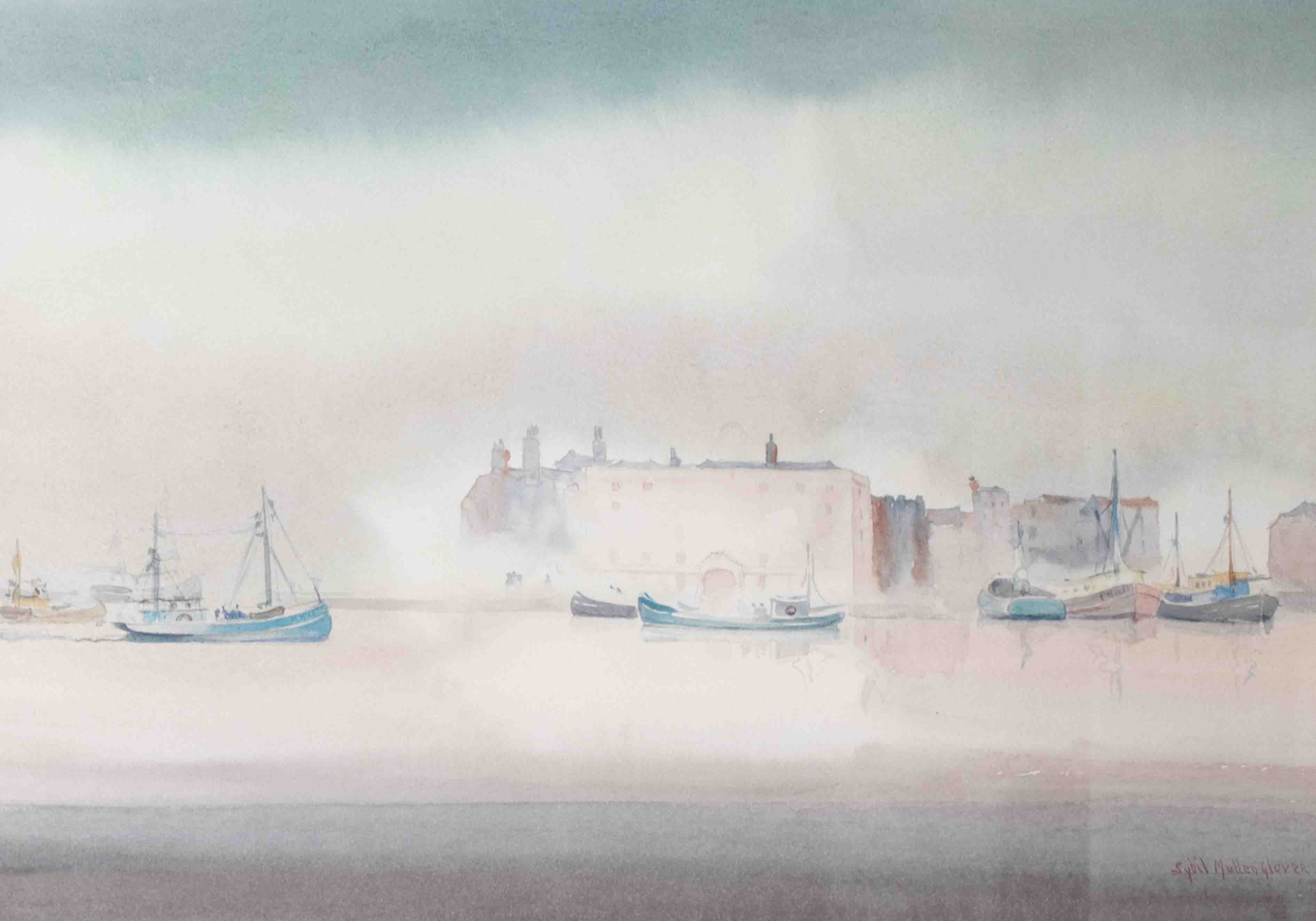 Sybil Mullen Glover RI RWA RSMA (1908-1995), 'Boats, Plymouth' signed watercolour, 25cm x 35cm, - Image 2 of 2