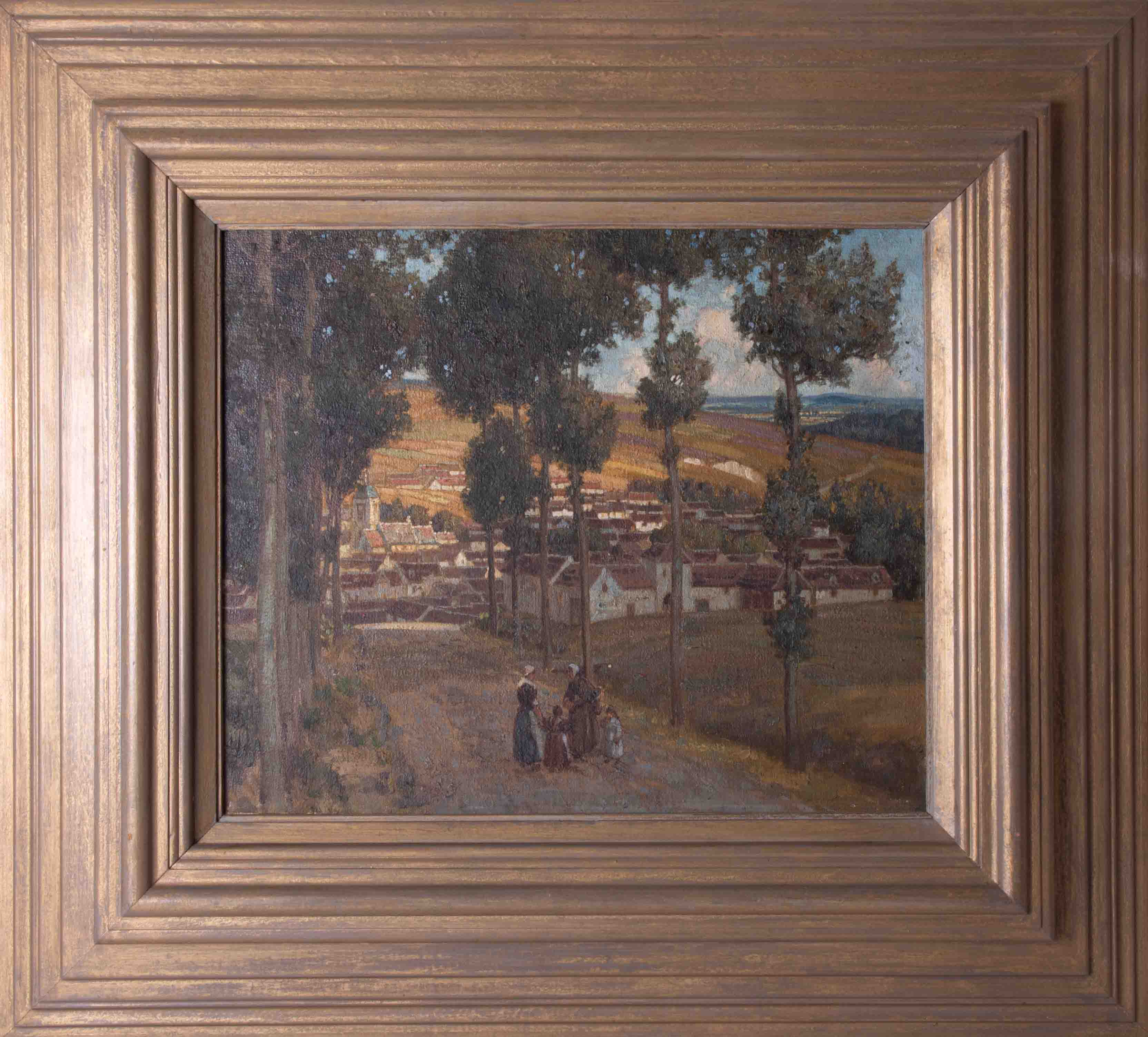 Unsigned oil on board 'Village', 36cm x 44cm, framed.