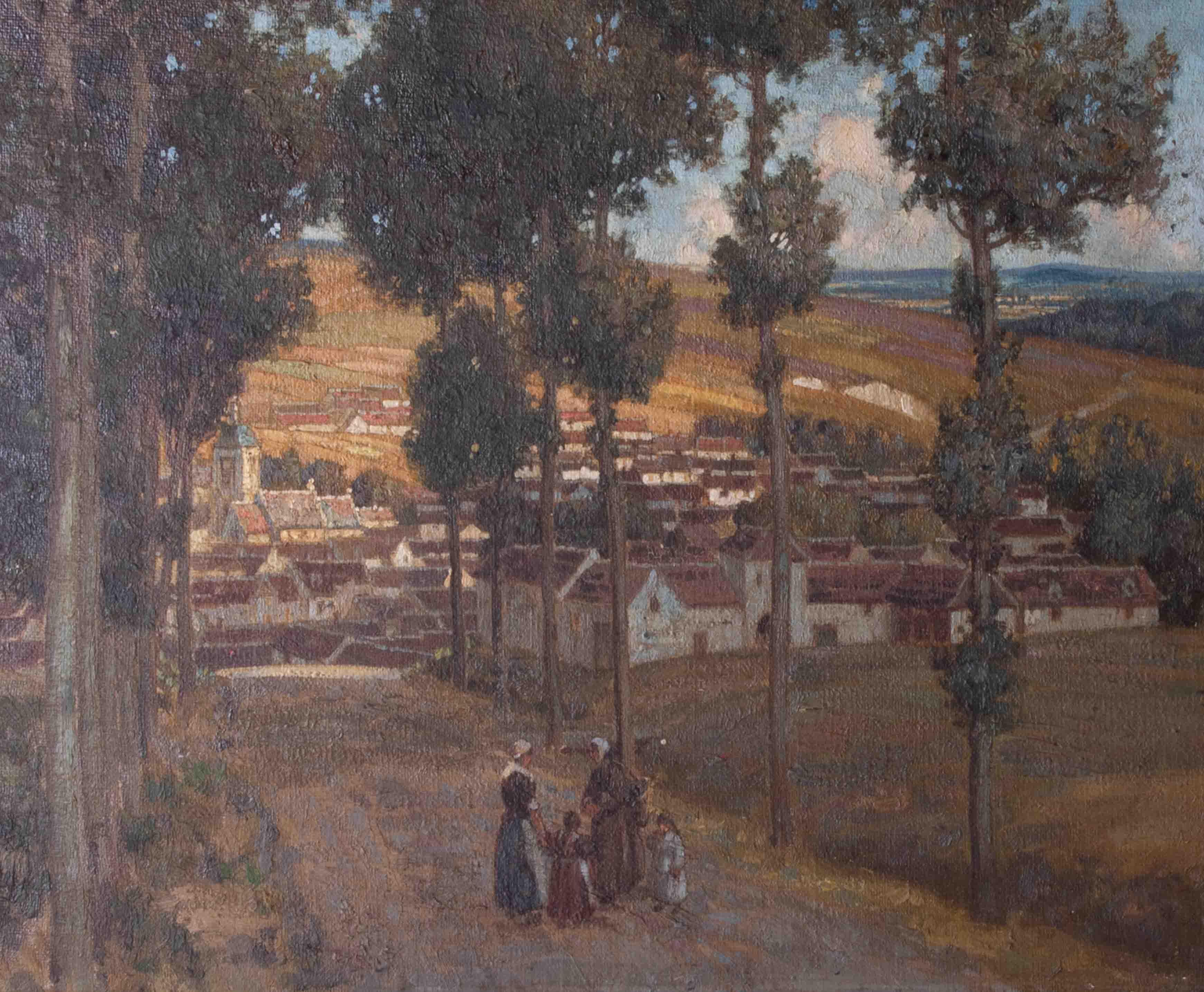 Unsigned oil on board 'Village', 36cm x 44cm, framed. - Image 2 of 2
