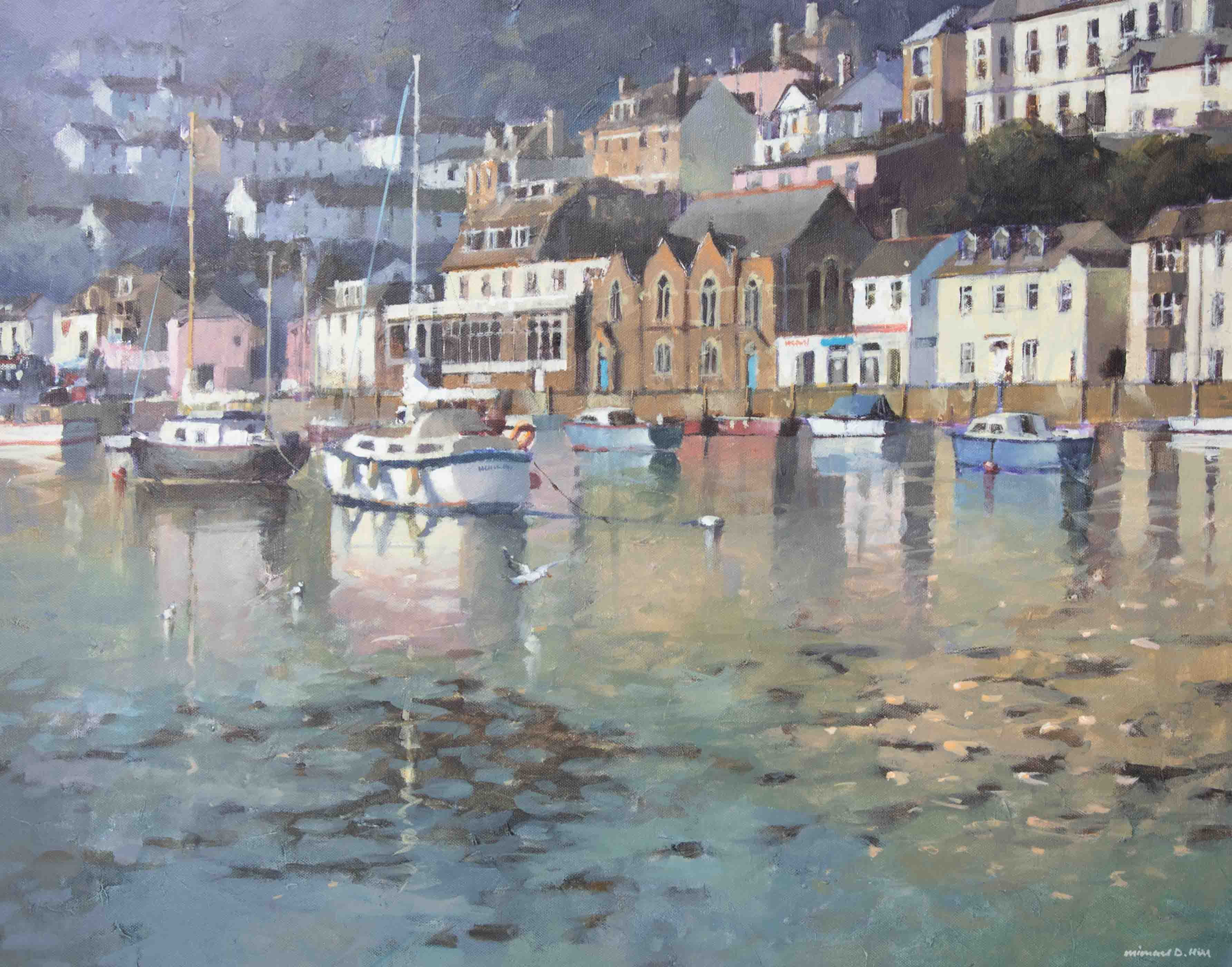 Michael D Hill, 'Harbour, West Looe' signed oil on canvas, 61cm x 76cm, framed. Michael Hill (born - Image 2 of 2