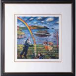 Karen Ciambriello, signed edition print 'Robert and the game of Badminton' 39/250, 40cm x 40cm,