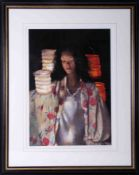 Robert Lenkiewicz (1941-2002) 'Anna With Paper Lanterns', signed limited edition print 288/500, 53cm