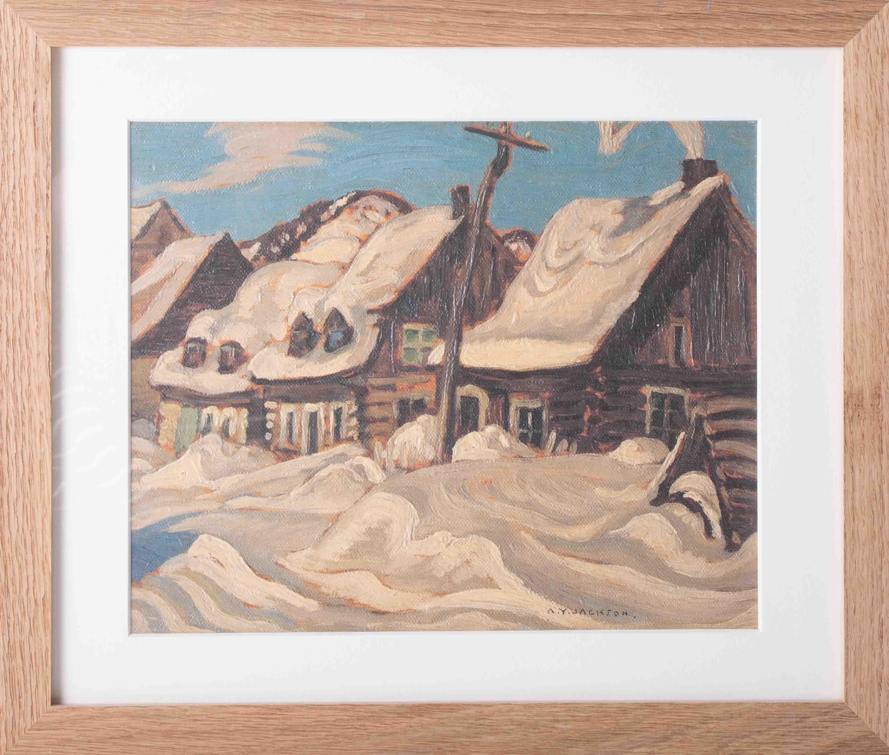 A.Y.Jackson, 'Houses, St.Urbain', giclee print, framed and glazed, 19cm x 23cm, was a Canadian