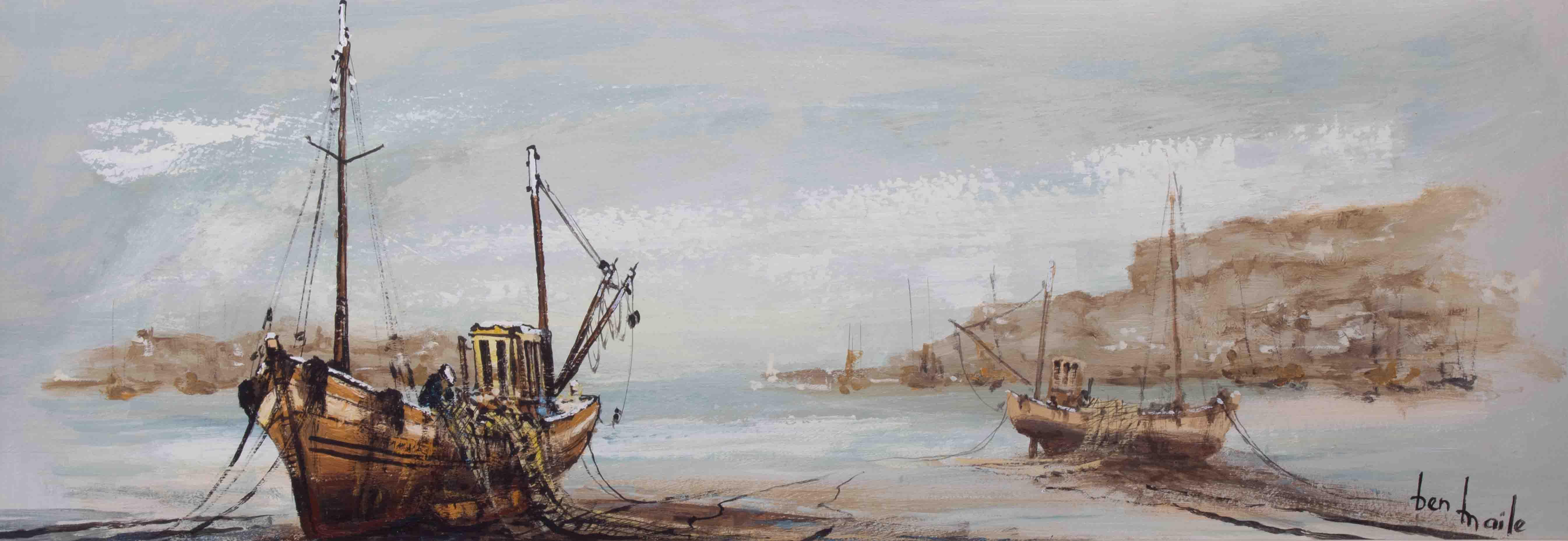 Ben Maile (1922-2017), 'Boats' oil on board, signed, 28cm x 82cm, framed. - Image 2 of 2