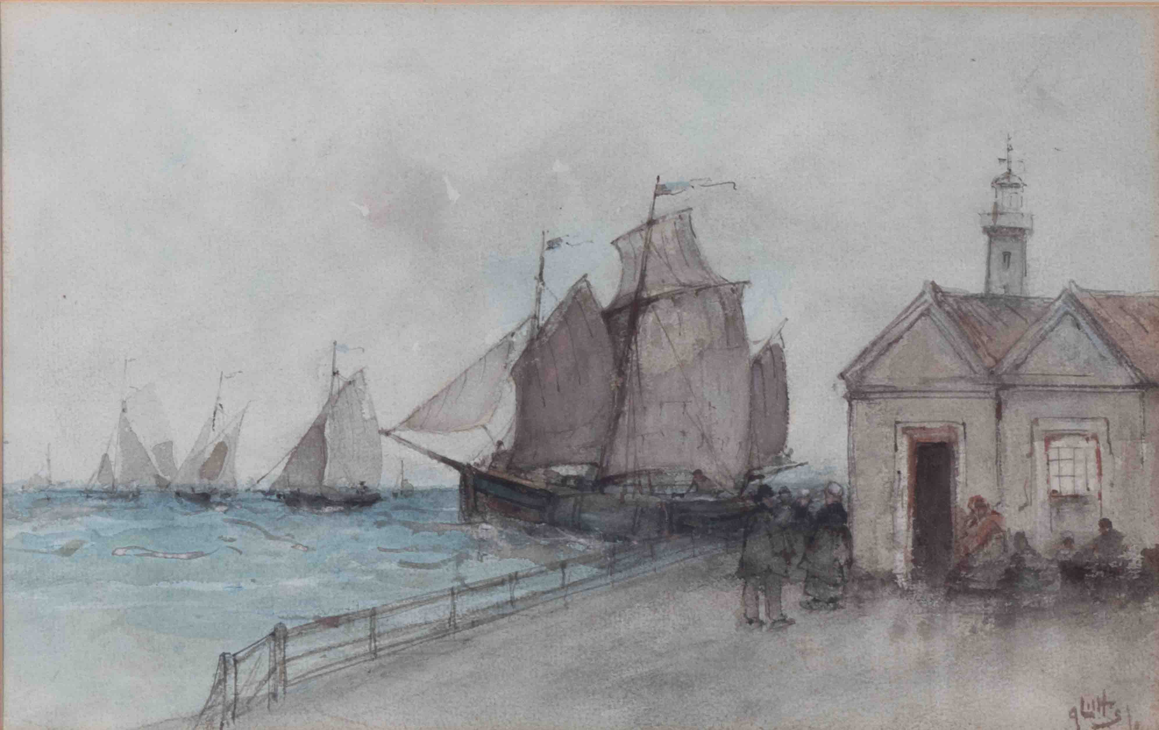 Lilts?, signed watercolour 'Sailing Ships on the Quay', 20cm x 33cm, framed and glazed. - Image 2 of 2