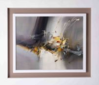 Wilkinson, contemporary abstract painting, oil on board in white floating frame, signed, overall