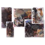 Robert Lenkiewicz (1941-2002) five artist palettes, unframed, Provenance, from a private studio that