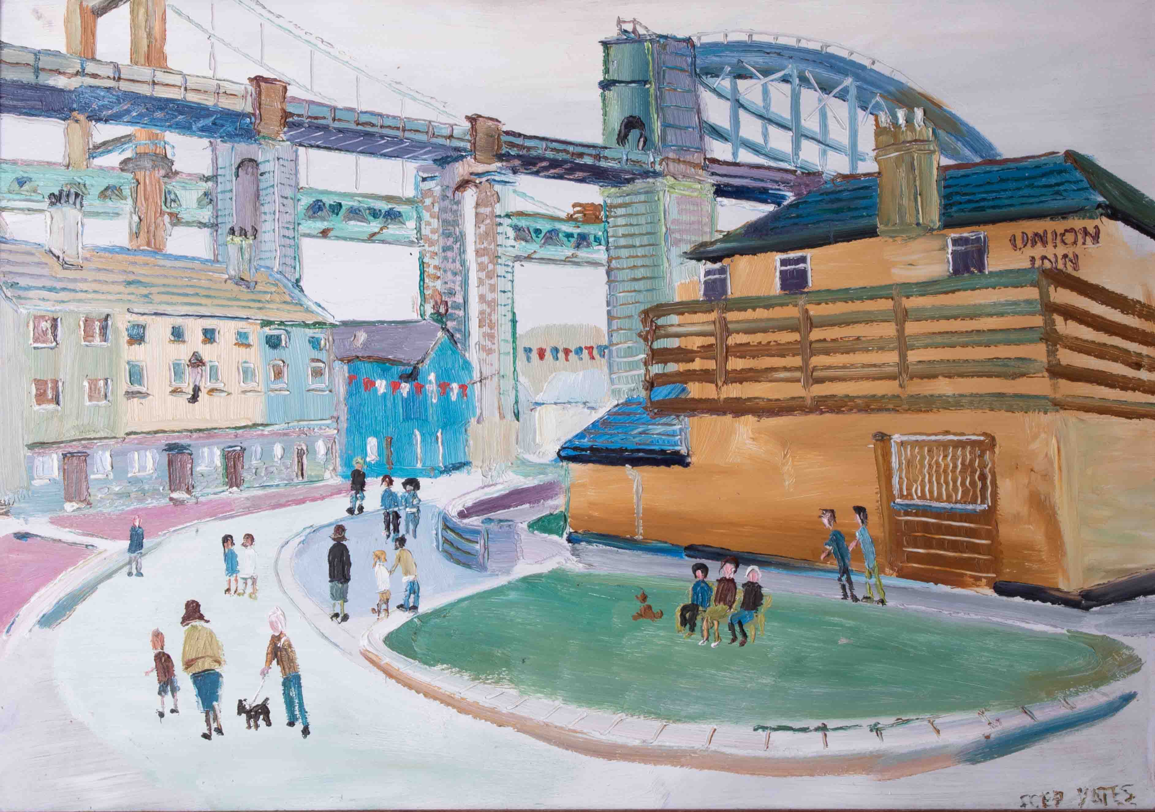 Fred Yates (1922-2008) 'A View of Brunel and Tamar Bridges from Saltash, Cornwall' oil on board, - Image 2 of 2