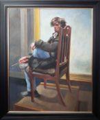 Robert Lenkiewicz (1941-2002) oil on board 'Study of Reuben Lenkiewicz', signed twice