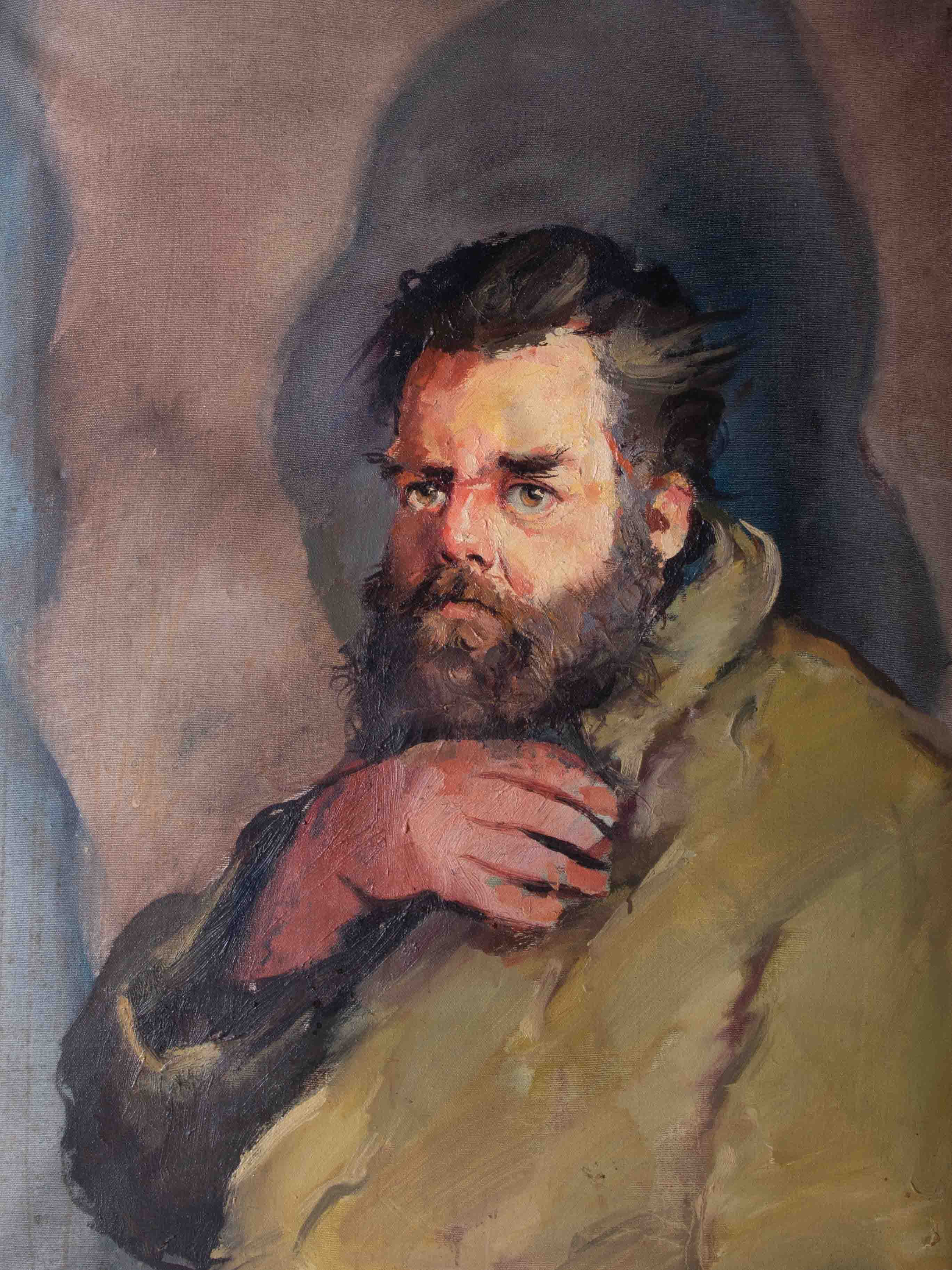 Robert Lenkiewicz (1941-2002) 'Big Pete' oil on canvas, with original artists title label on - Image 2 of 4