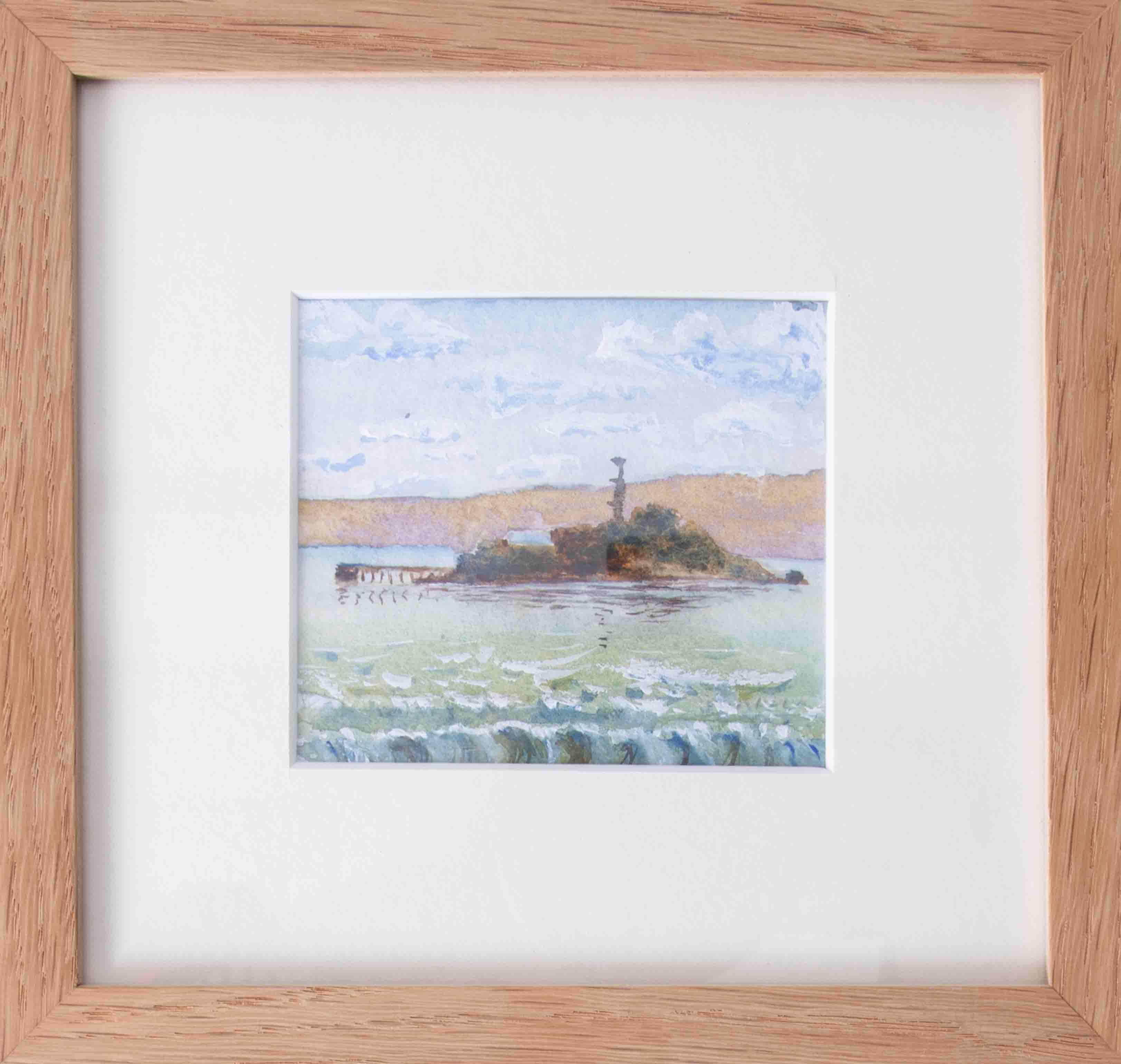 A watercolour of 'West View Of Drakes Island', signed and dated to the rear, 7cm x 8.5cm, framed and