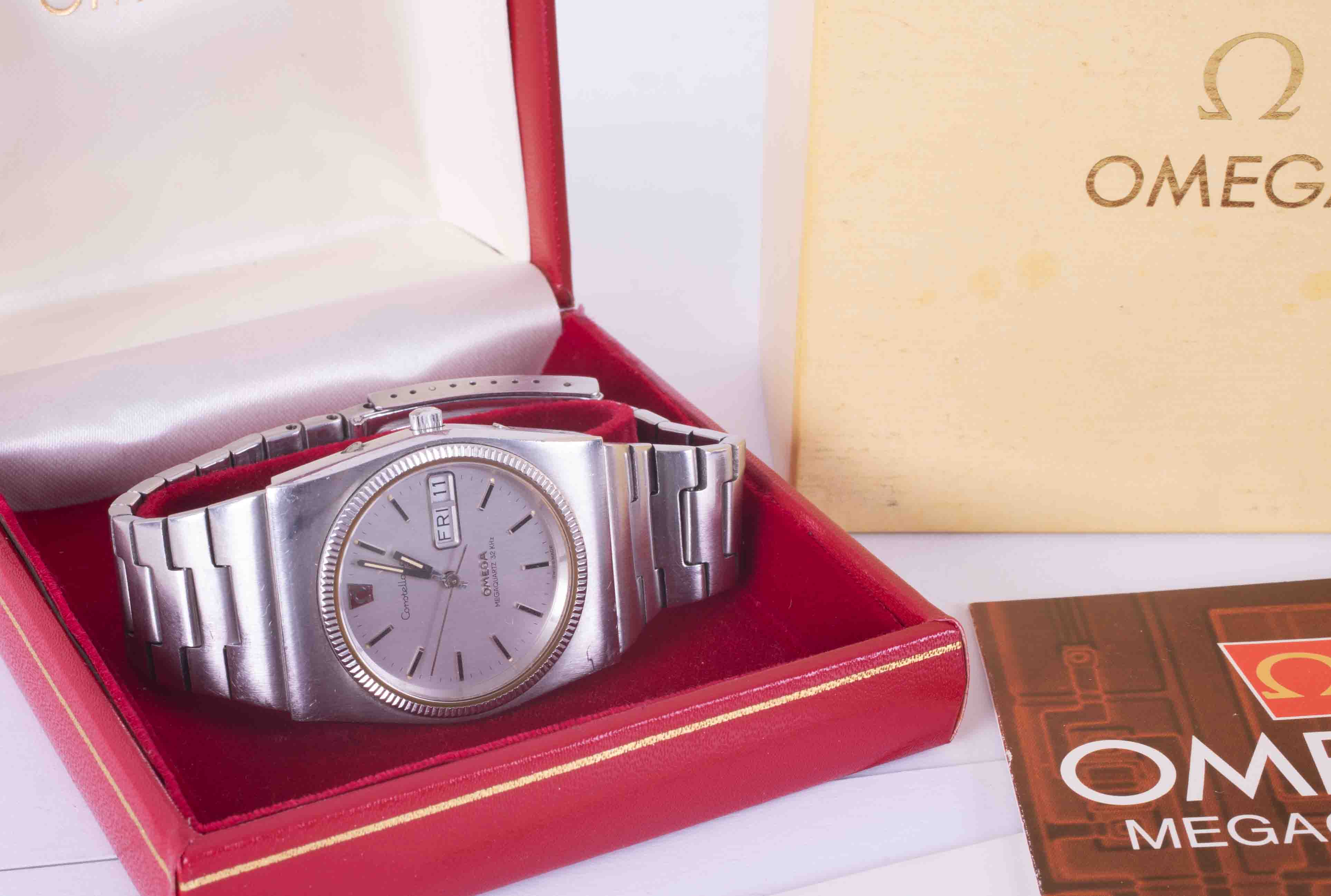 Omega, a gents stainless steel Constellation wristwatch, mega quartz, 196.0030, with original box, - Image 3 of 3
