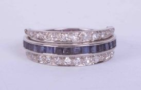 An unusual 18ct white gold antique reversible ring set princess cut rubies & sapphires and small old