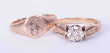 Two 9ct yellow gold rings to include a signet ring & a diamond set ring, total weight 4.8g.