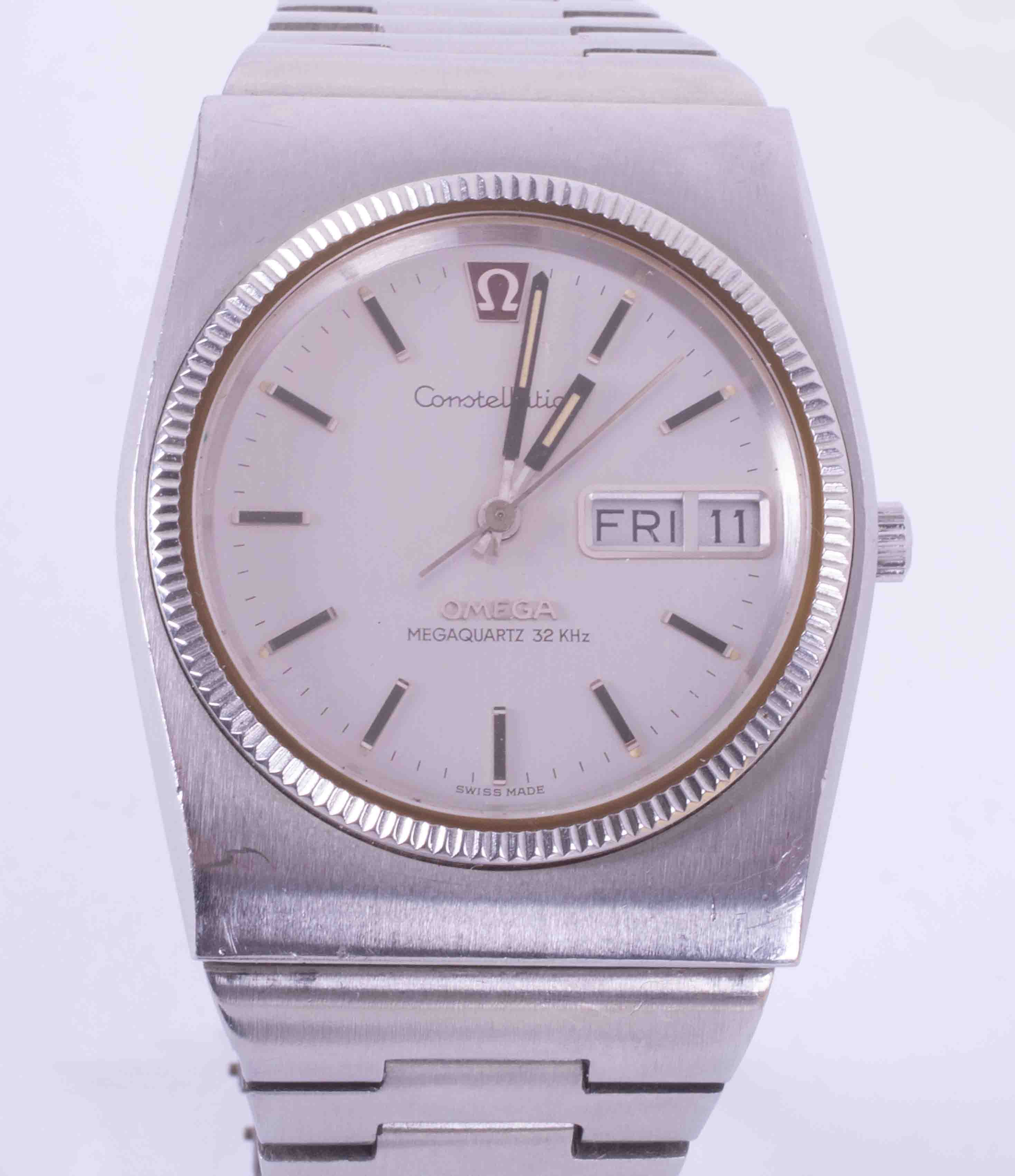 Omega, a gents stainless steel Constellation wristwatch, mega quartz, 196.0030, with original box,