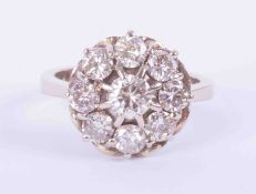 An 18ct white gold flower style cluster ring set approx. 1.80 carats of round brilliant cut