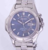Seiko, a gents stainless steel 'Kinetic' wristwatch, water resist, 100 meters.