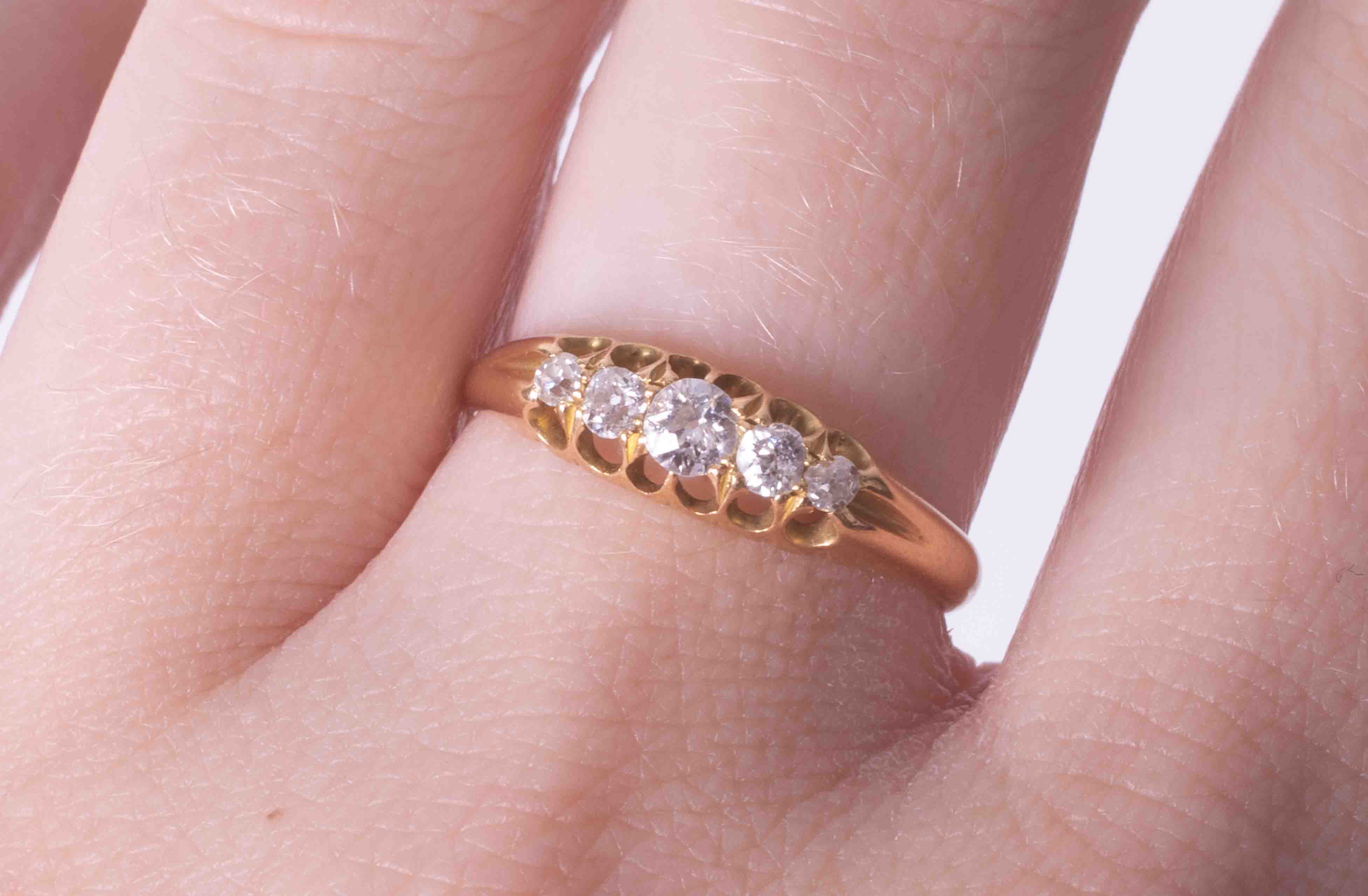 An antique 18ct yellow gold five stone ring set with approx. 0.35 carats of old round cut - Image 2 of 2
