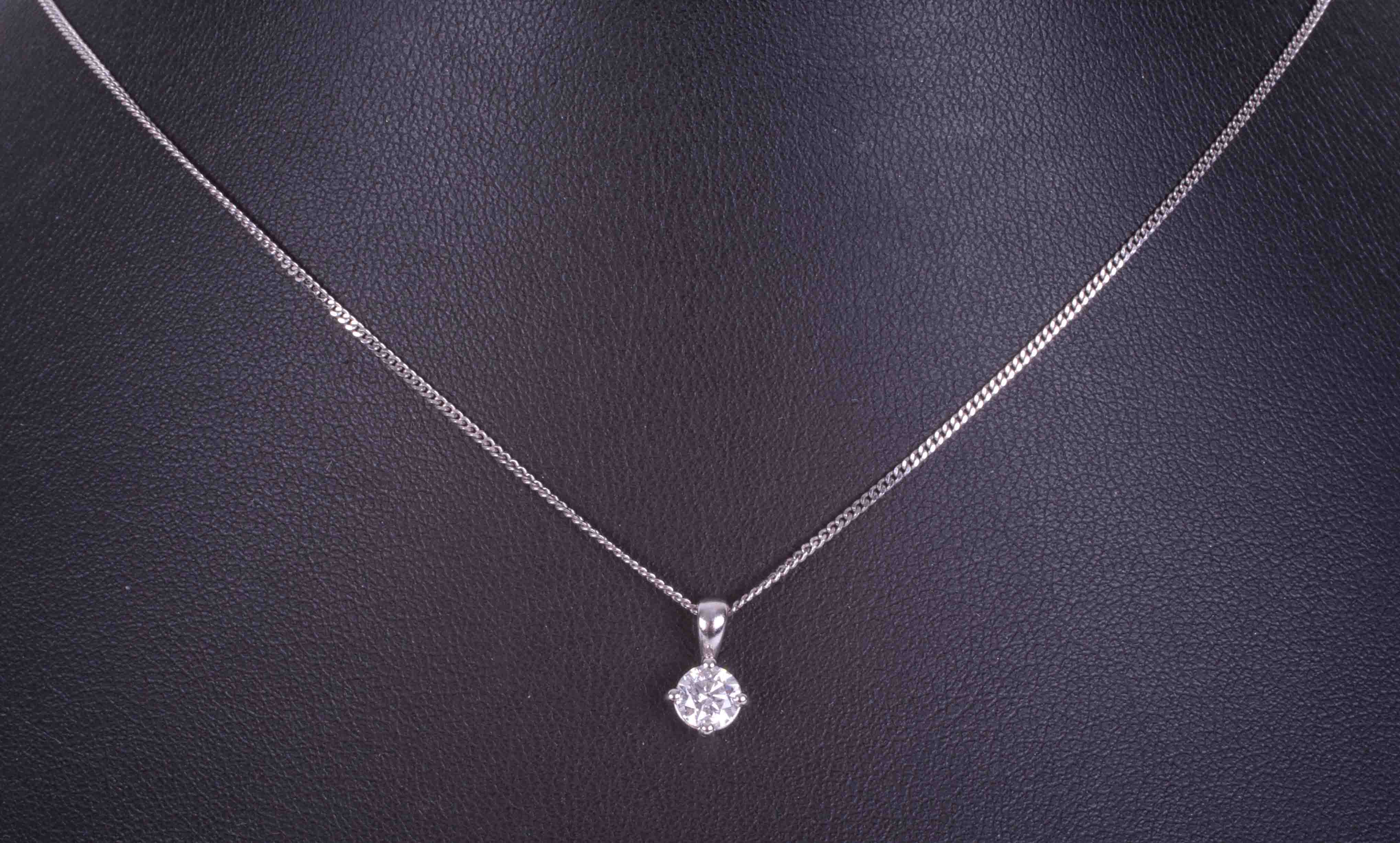 An 18ct white gold four claw pendant set approx. 0.40 carats of round brilliant cut diamond, - Image 2 of 2