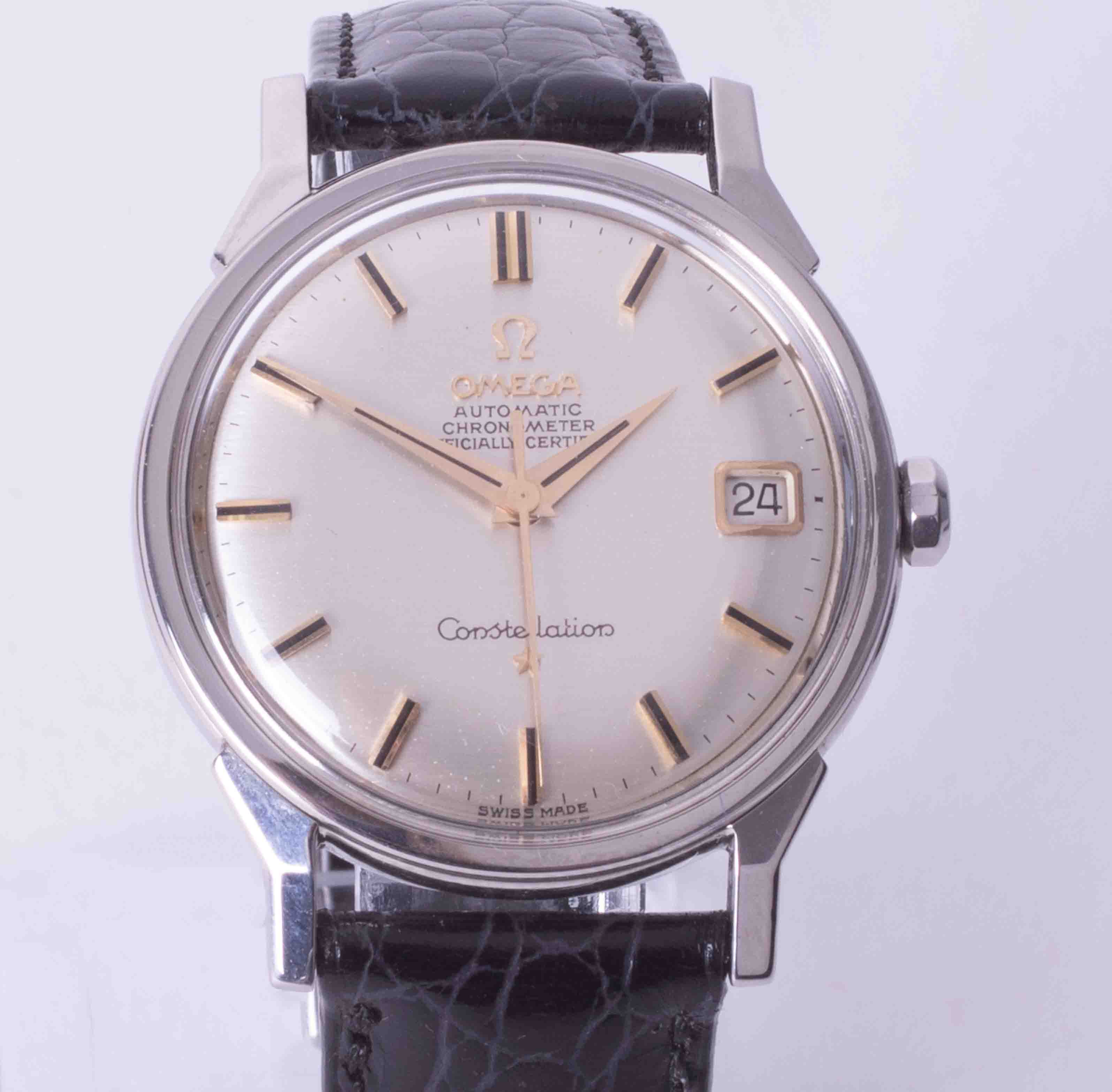 Omega, a gents stainless steel automatic chronometer Constellation wrist watch with date, silvered