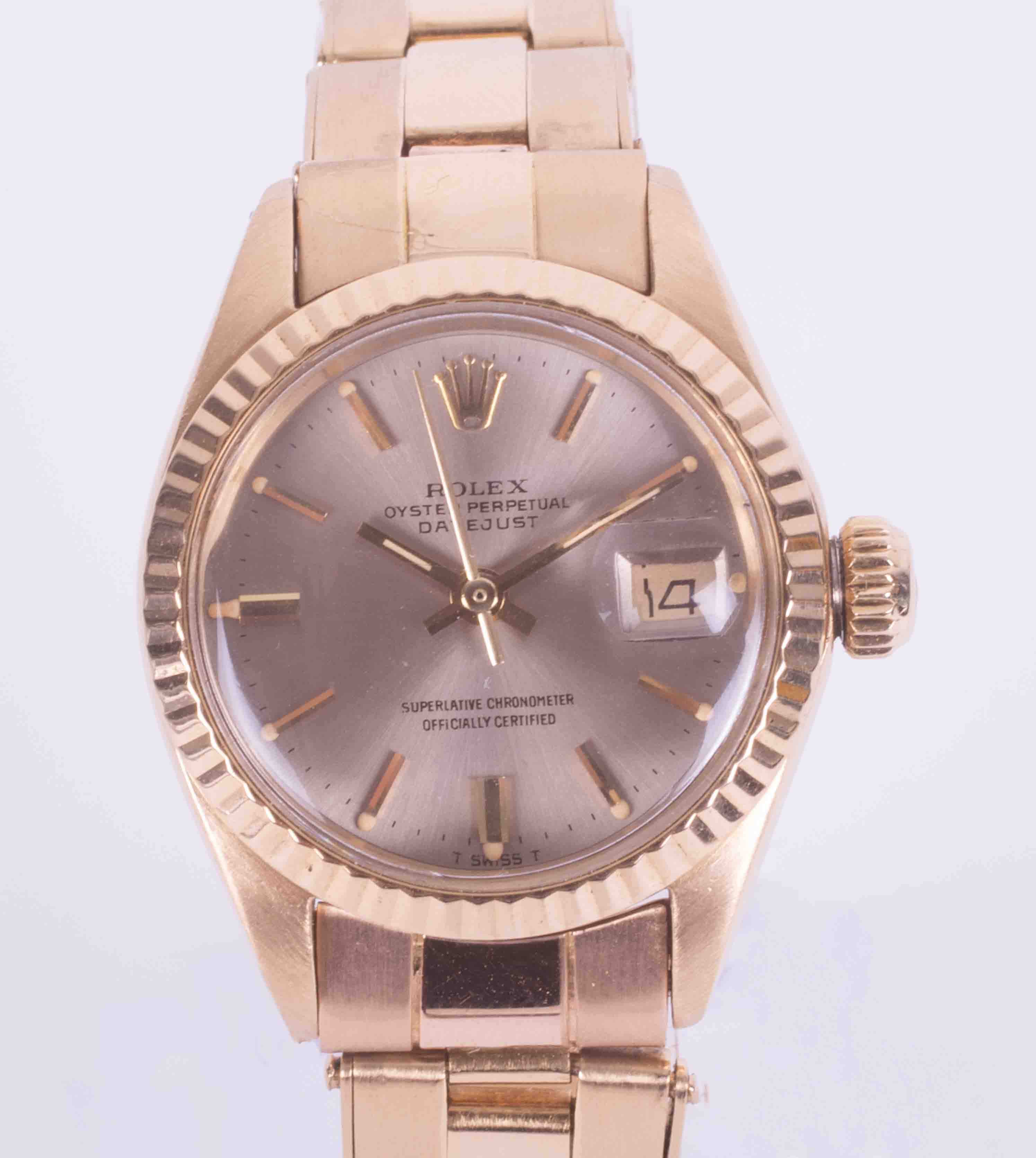 Rolex, a ladies 18ct yellow gold Oyster Perpetual Datejust wristwatch, 3053786, 1972, rivet Oyster