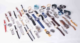 A mixed collection of watches including Citizen, Accurist, Rotary, Swatch etc approx 49 watches.